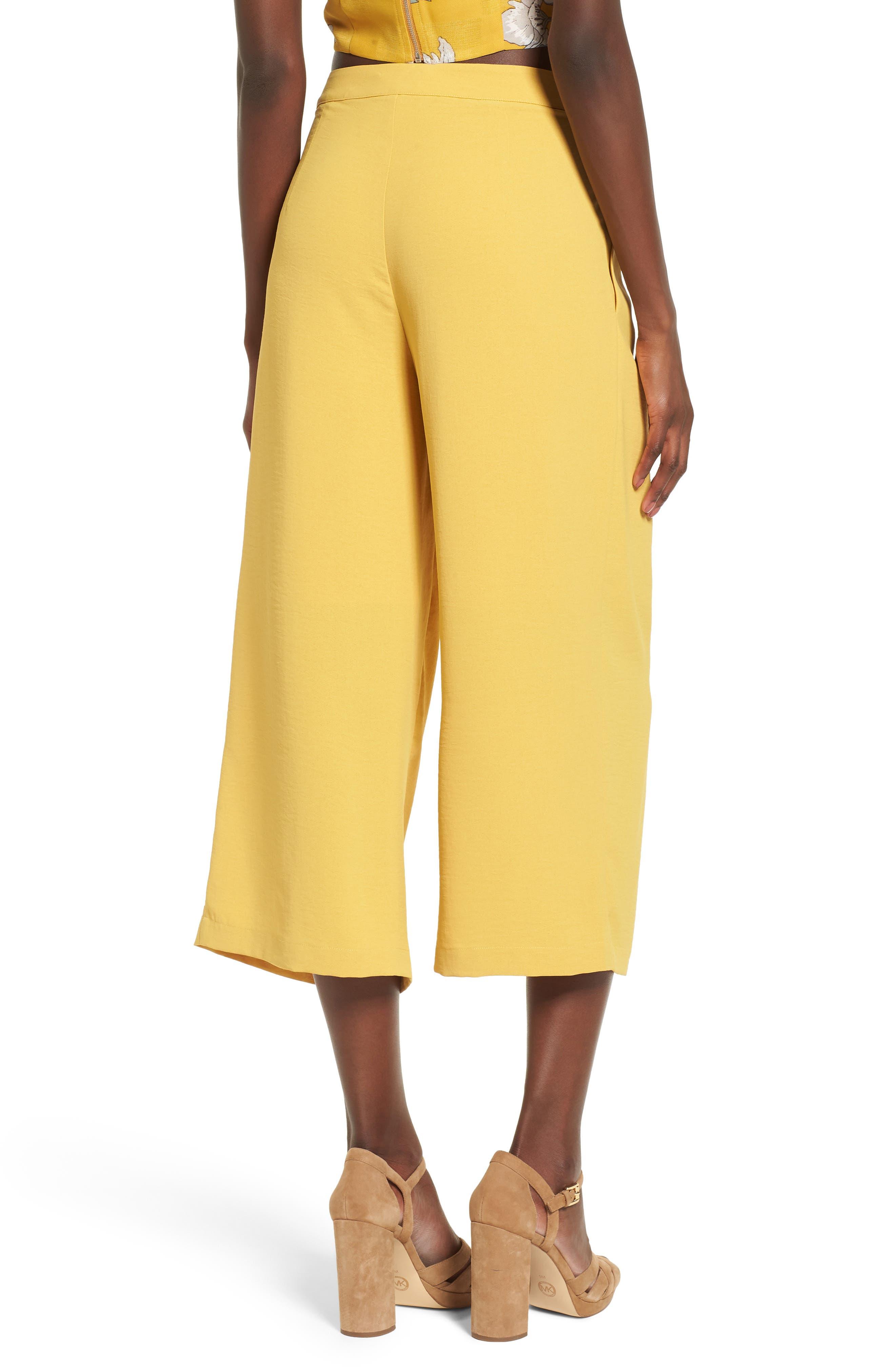 Chriselle x J.O.A. Pleat High Waist Crop Wide Leg Pants,                             Alternate thumbnail 4, color,                             Roman Gold