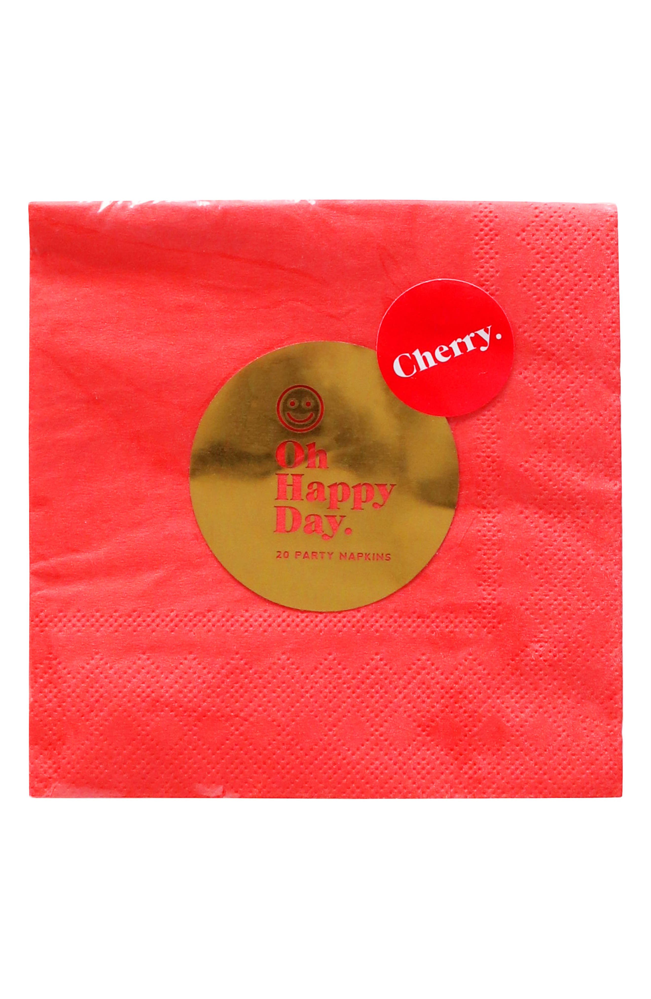 Oh Happy Day Cherry Paper Cocktail Napkins