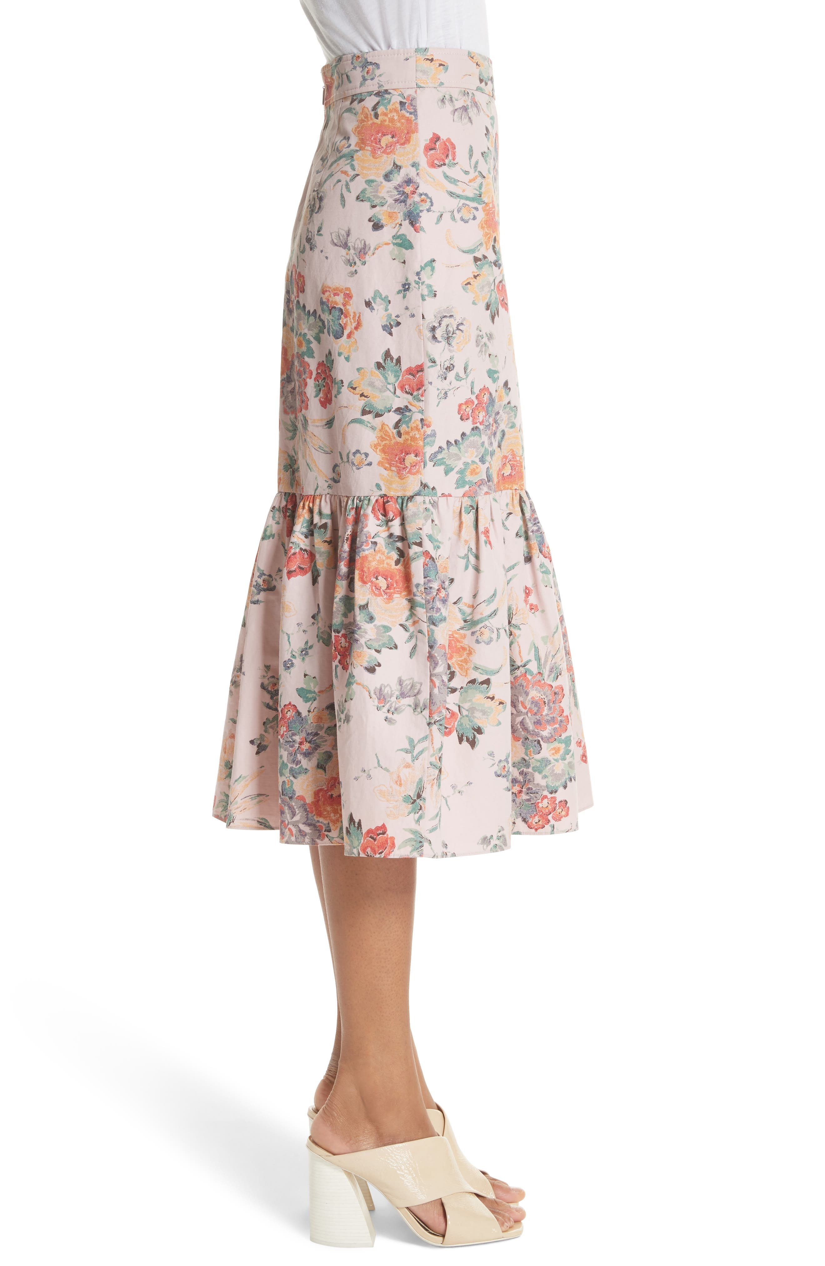 Marlena Ruffled Floral Skirt,                             Alternate thumbnail 3, color,                             Dusty Rose Combo