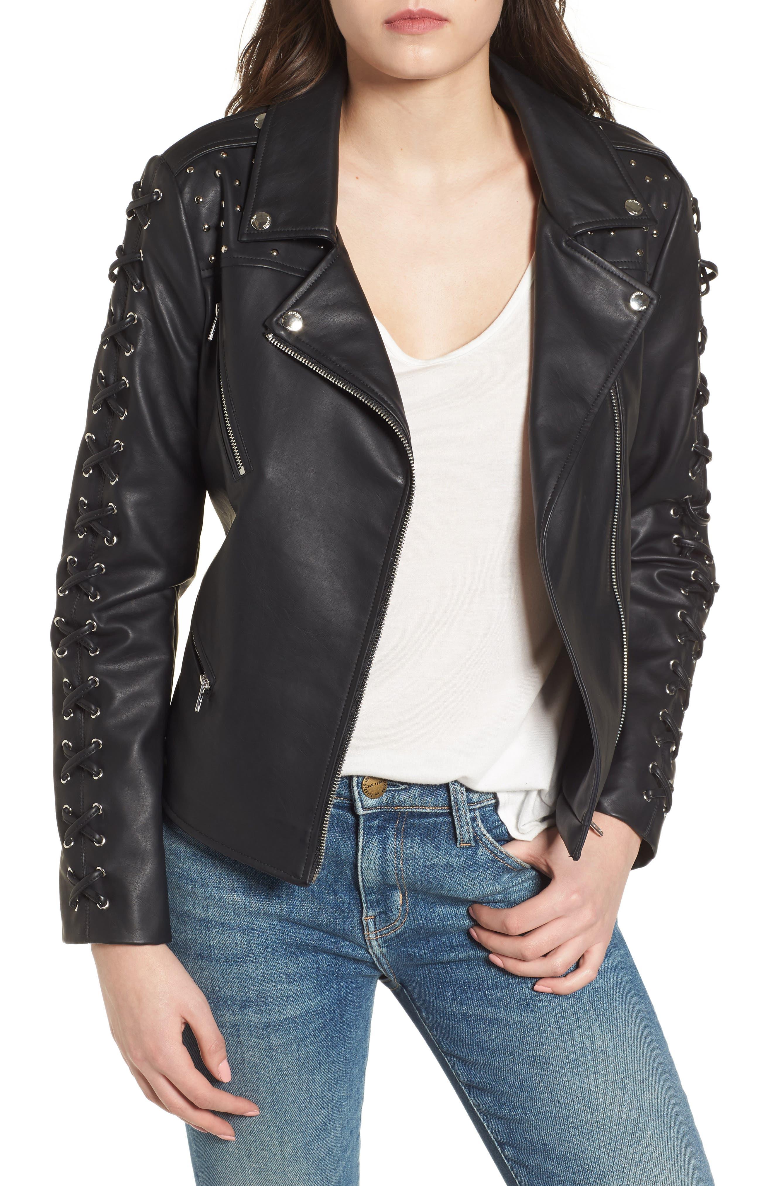 Faux Leather Biker Jacket,                             Main thumbnail 1, color,                             Black