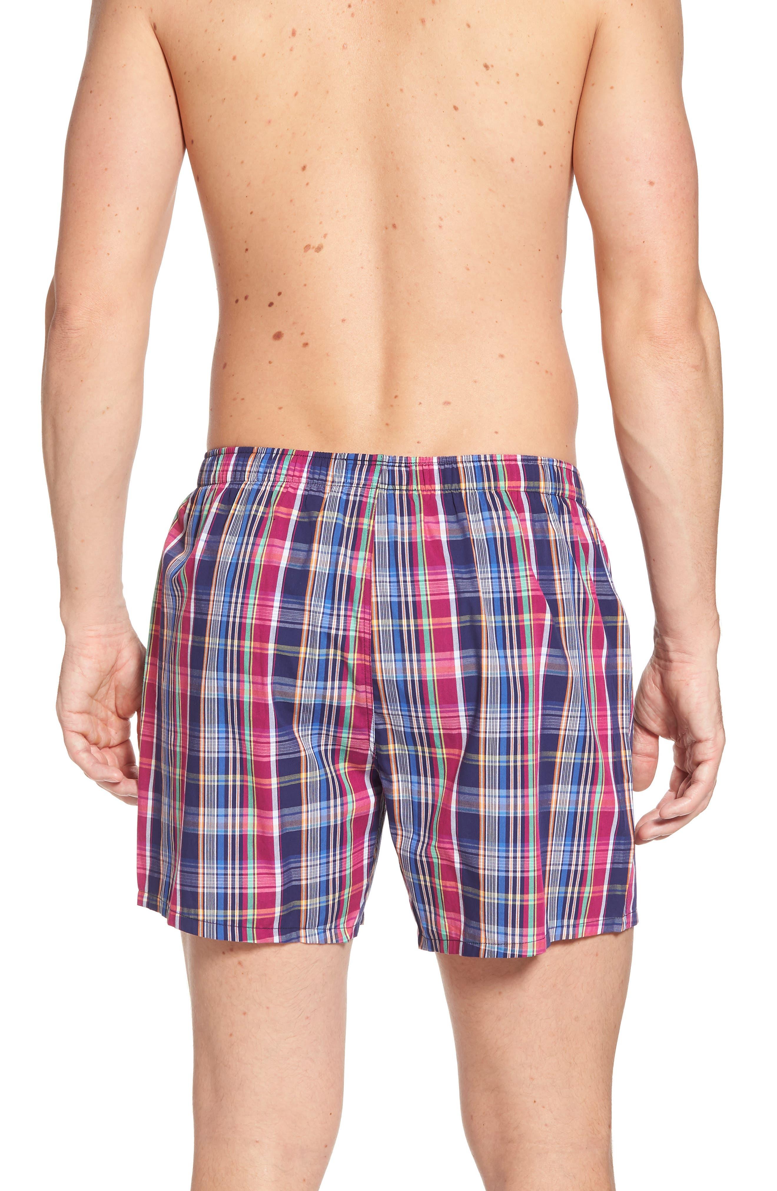 Woven Cotton Boxers,                             Alternate thumbnail 2, color,                             Collin Plaid/ Bright Pink