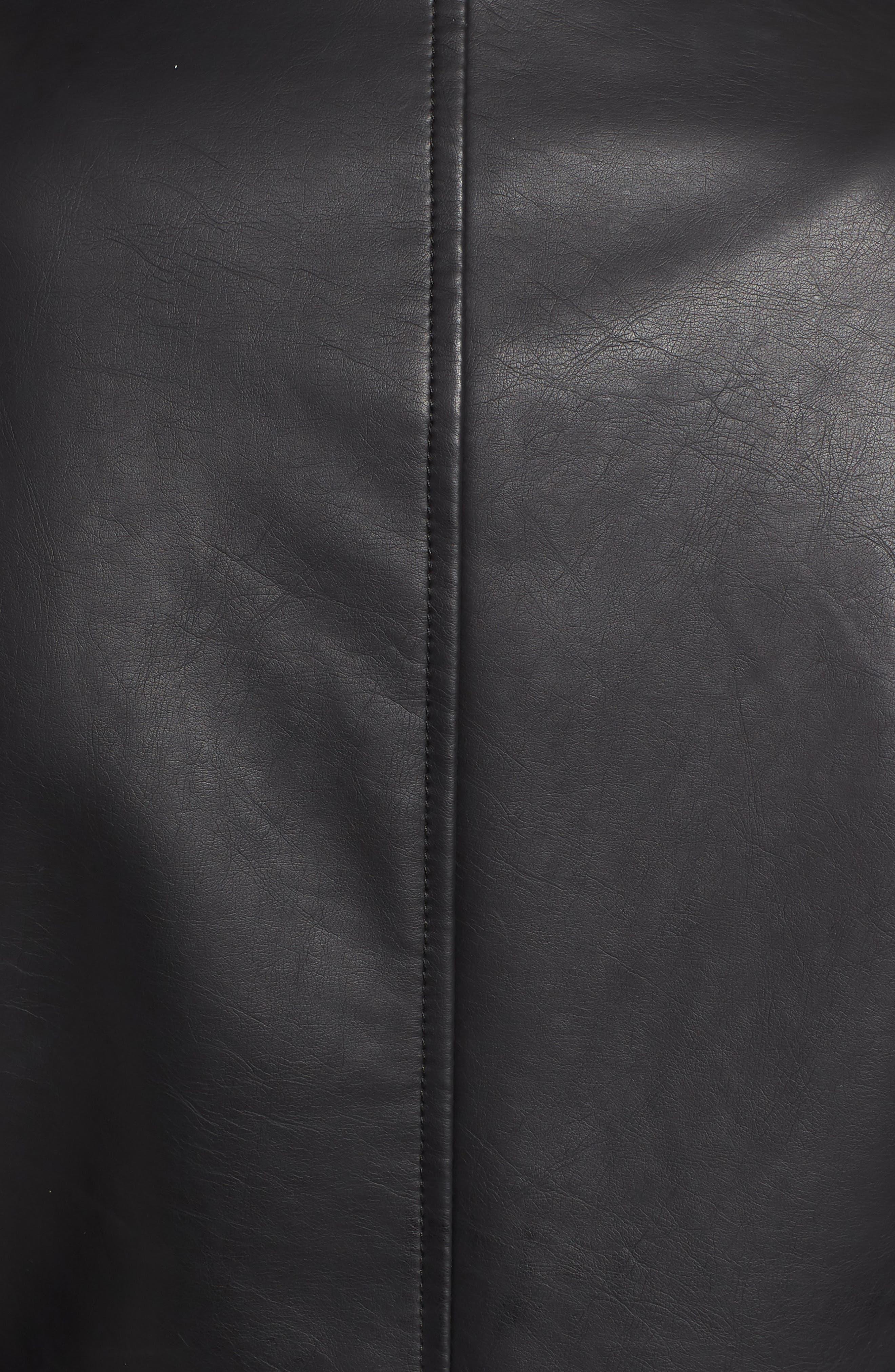 Faux Leather Biker Jacket,                             Alternate thumbnail 6, color,                             Black