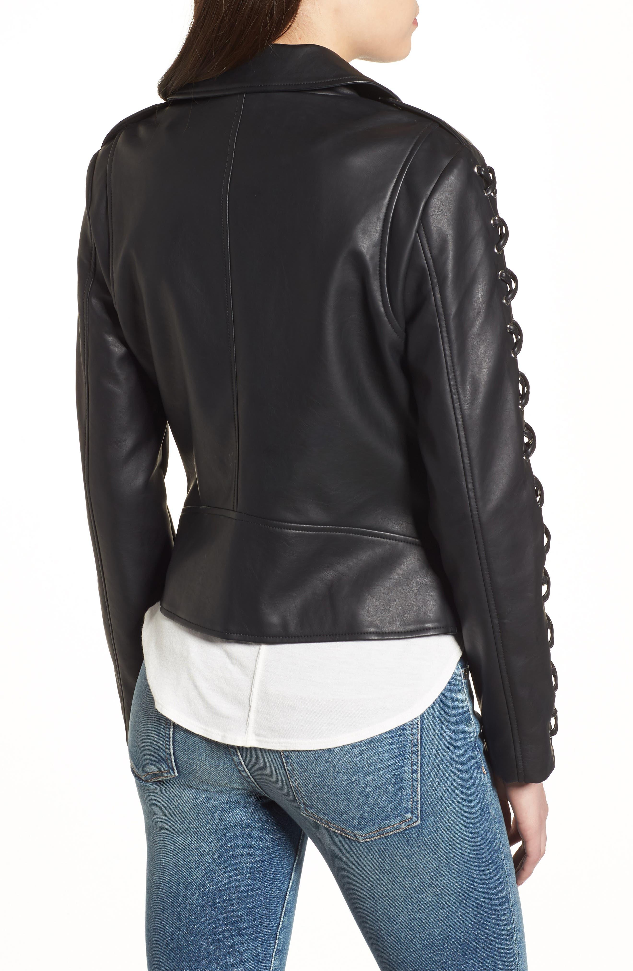 Faux Leather Biker Jacket,                             Alternate thumbnail 2, color,                             Black