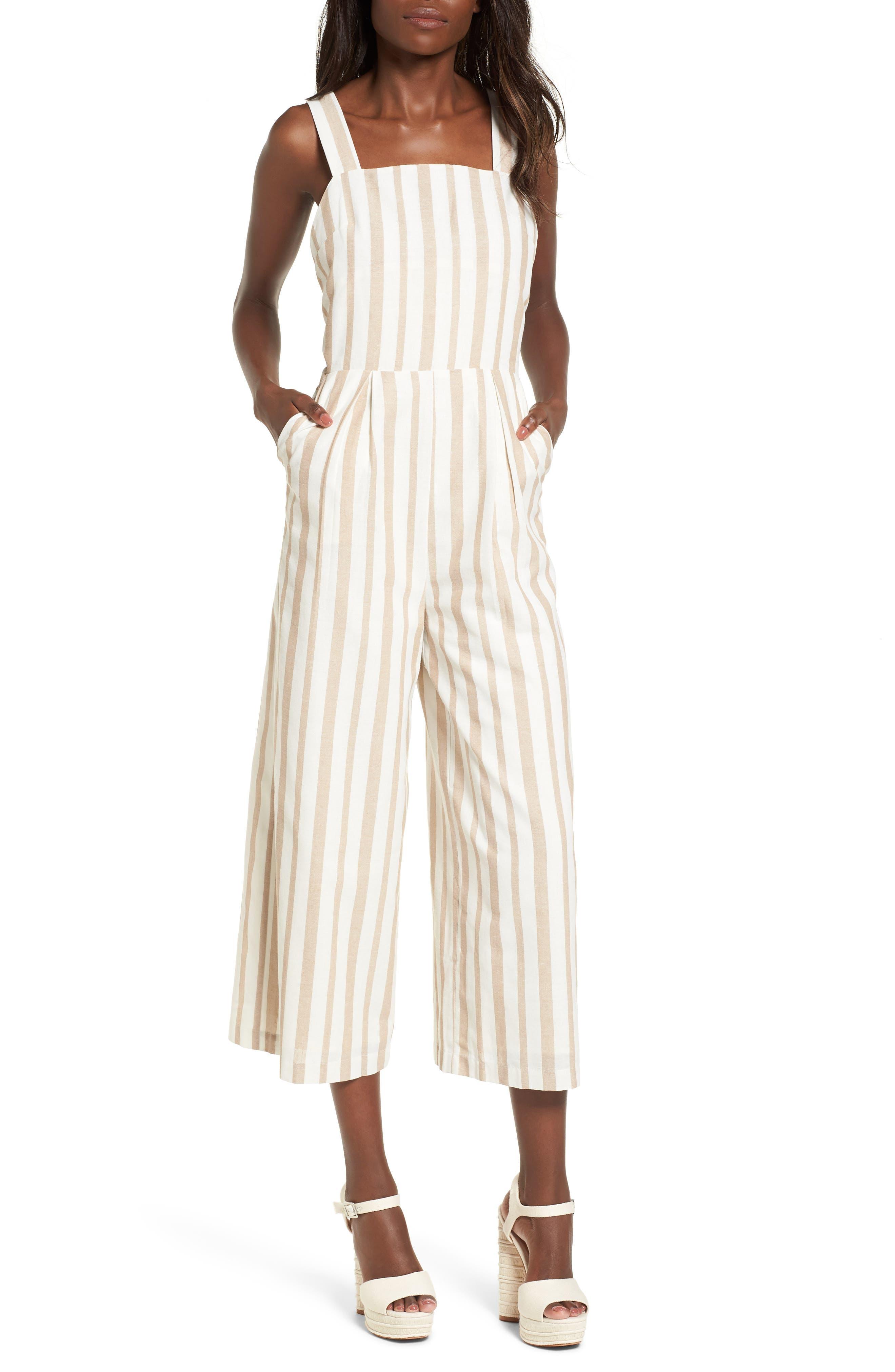 Chriselle x J.O.A. Wide Leg Jumpsuit,                         Main,                         color, Sand Stripe