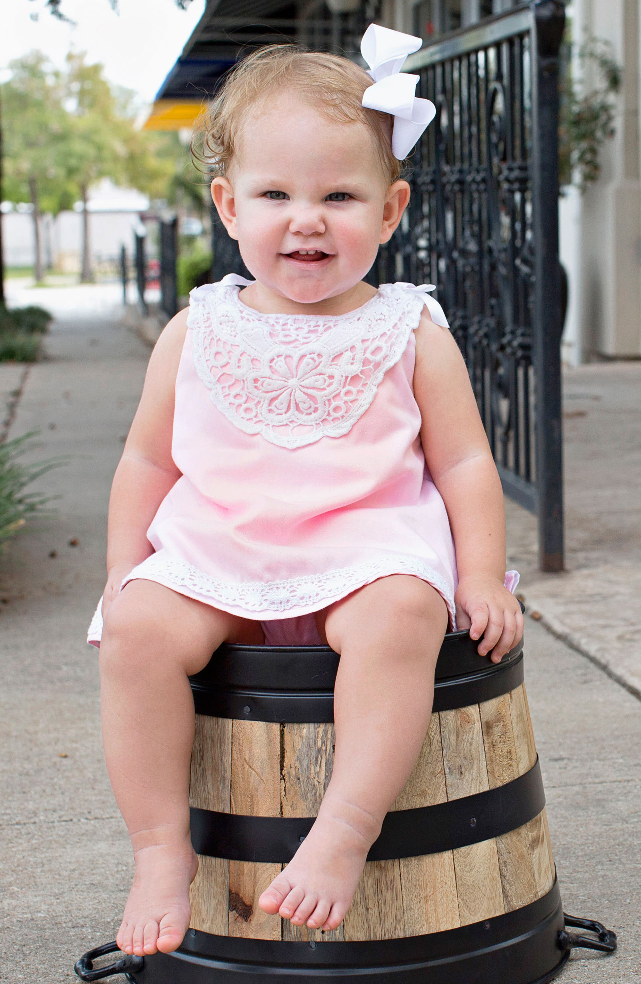 Chambray Swing Top & Ruffle Bloomers Set,                             Alternate thumbnail 4, color,                             Pink