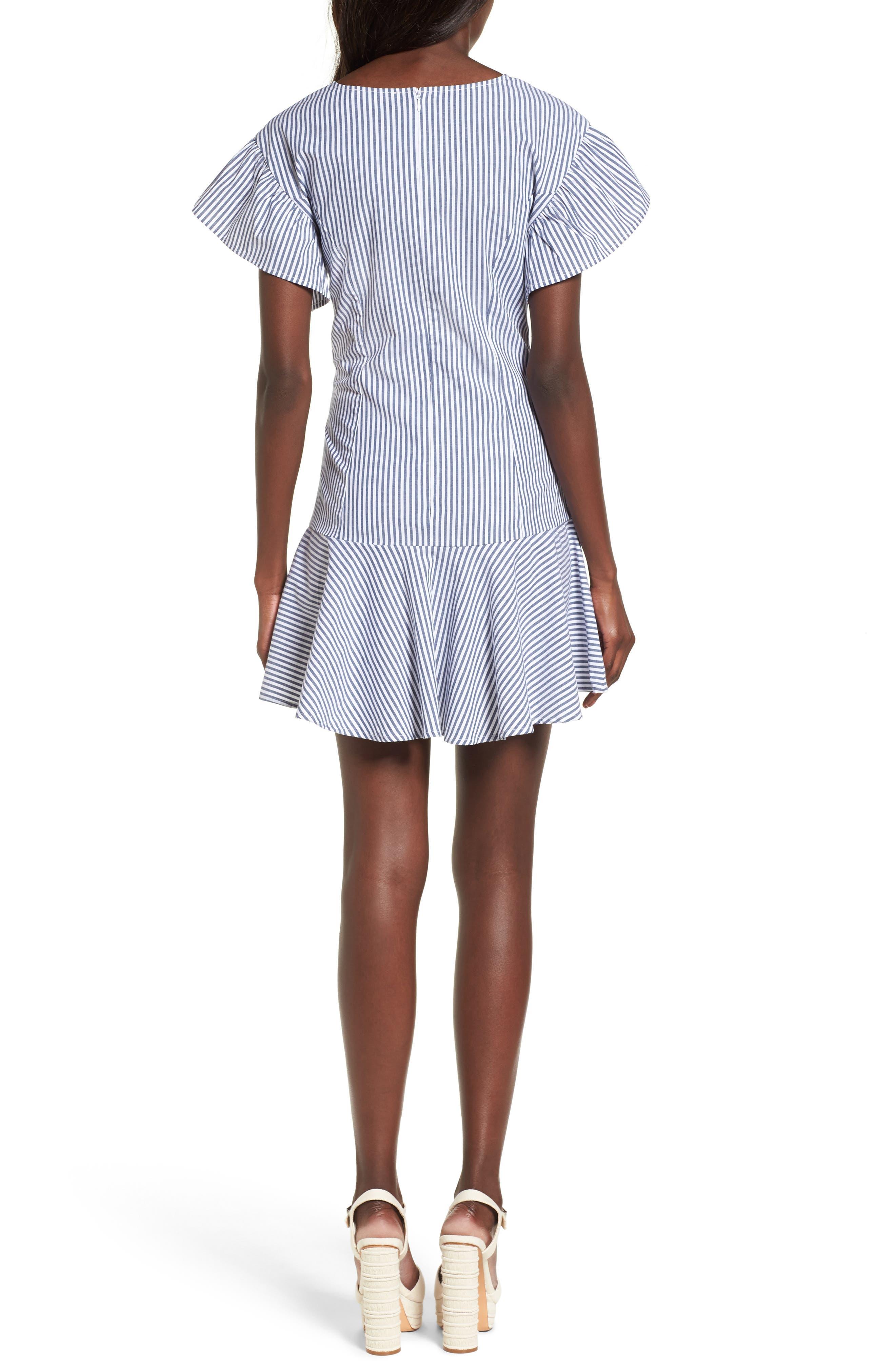 Lace-Up Minidress,                             Alternate thumbnail 2, color,                             Blue-White Stripe