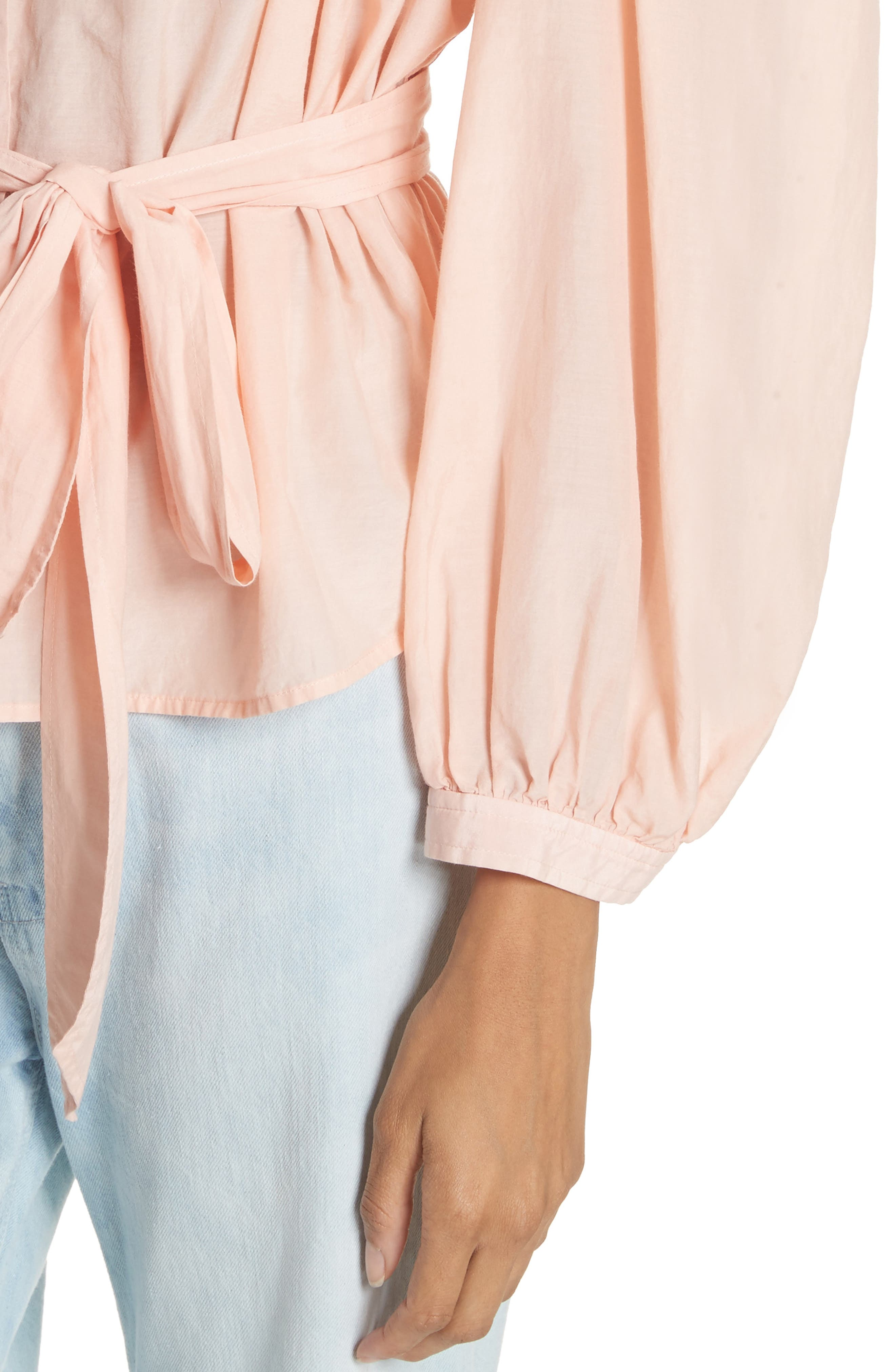 Belted Cotton & Silk Top,                             Alternate thumbnail 4, color,                             Rose Cloud