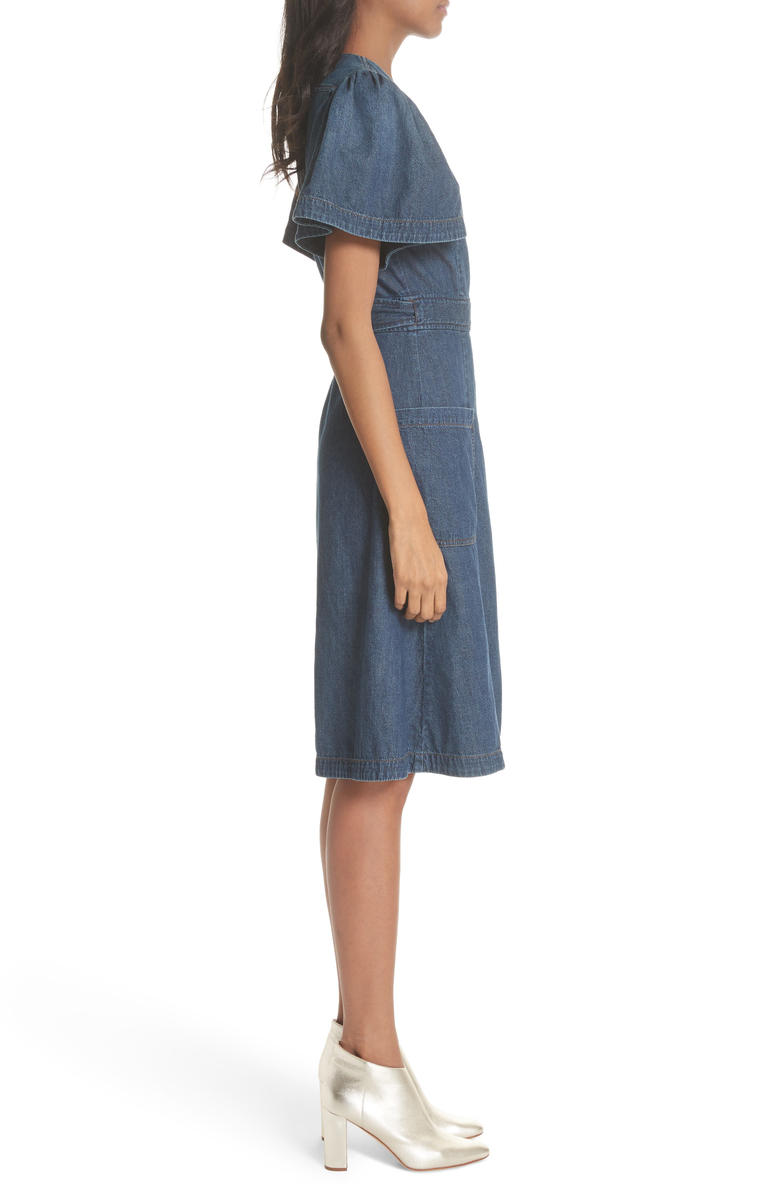 Denim Wrap Dress,                             Alternate thumbnail 3, color,                             Avignon Wash