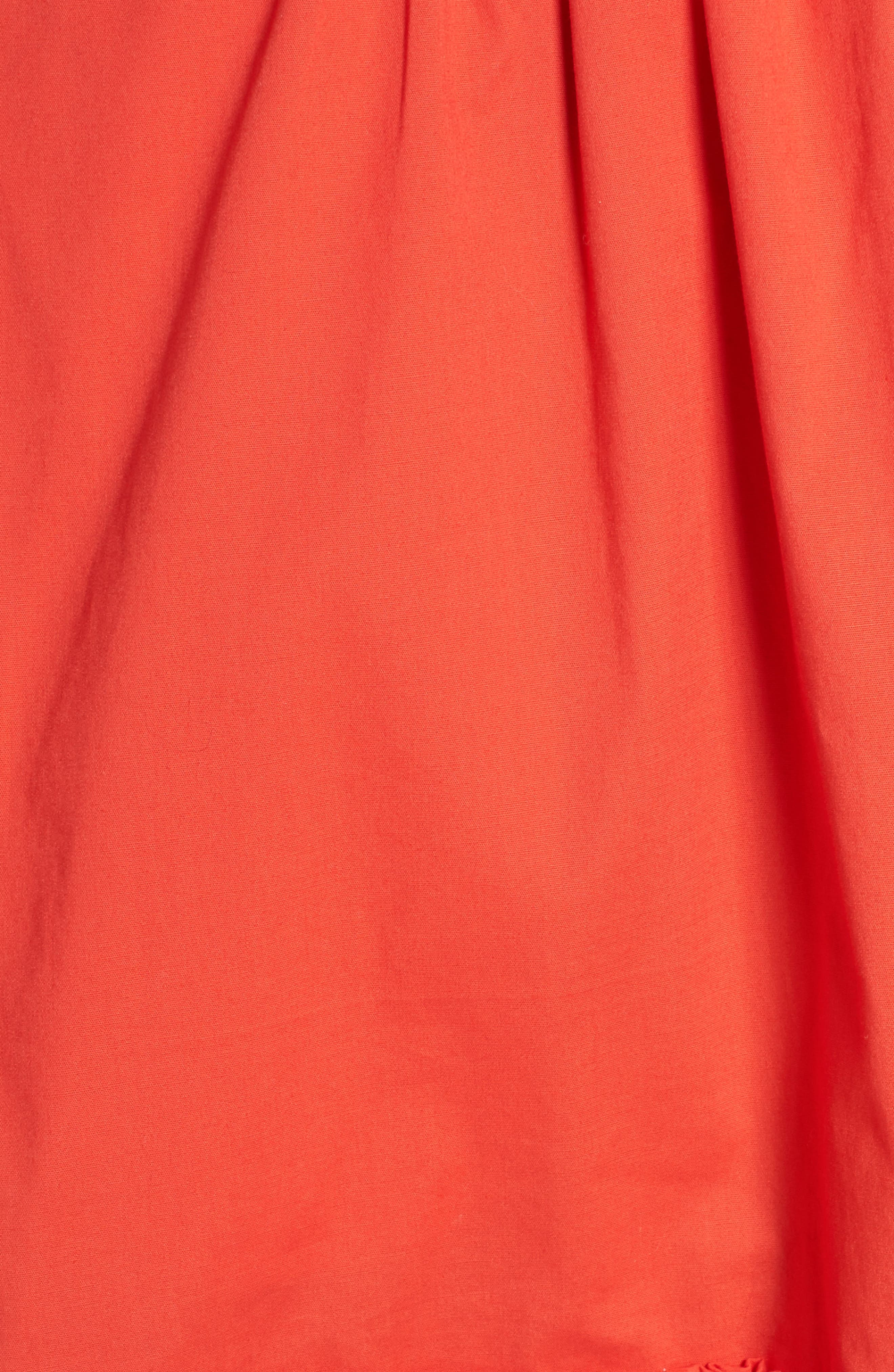 Pleat Collar Fit & Flare Dress,                             Alternate thumbnail 6, color,                             Red Bloom