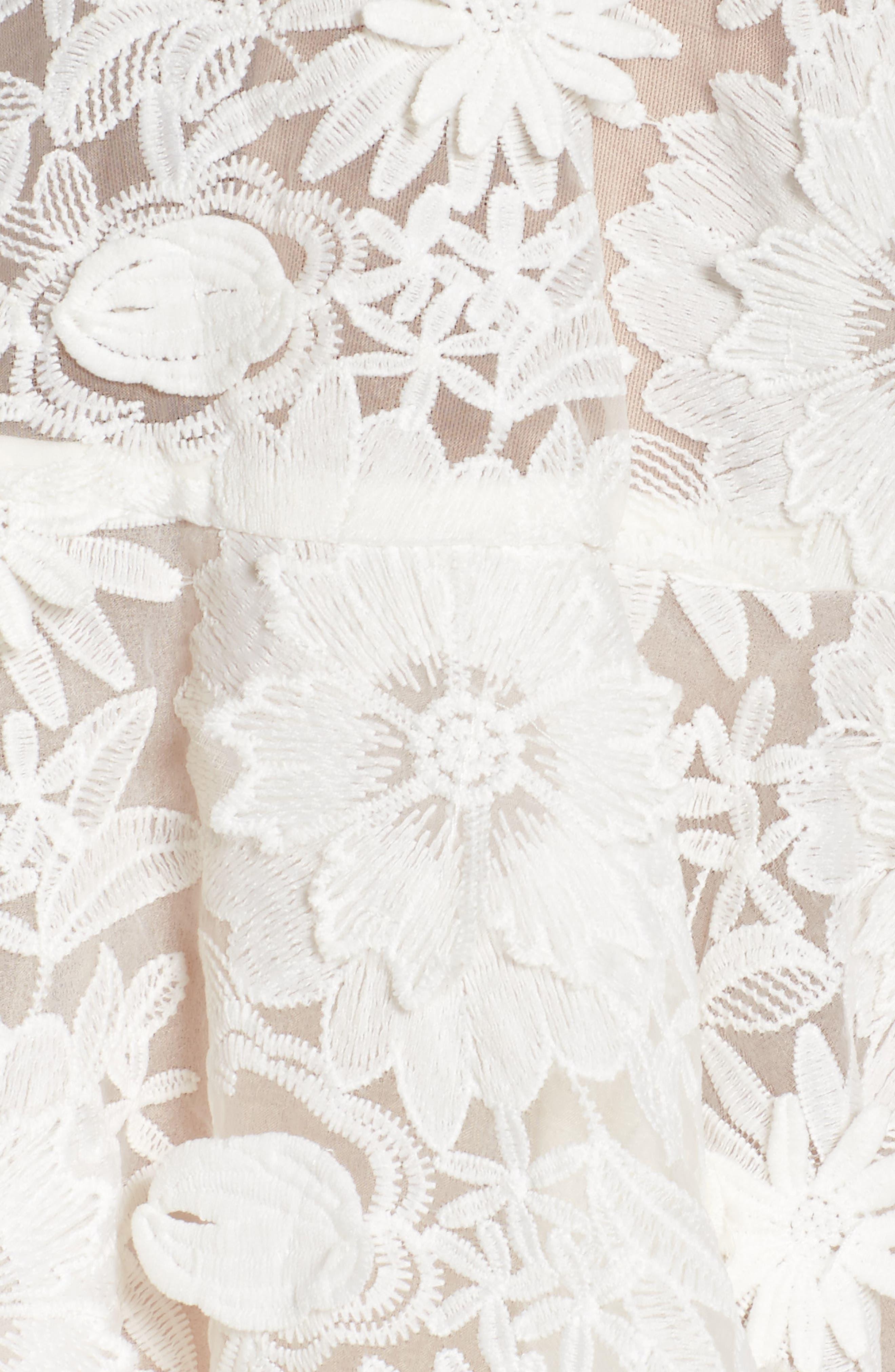 Mila Lace Fit & Flare Dress,                             Alternate thumbnail 5, color,                             White