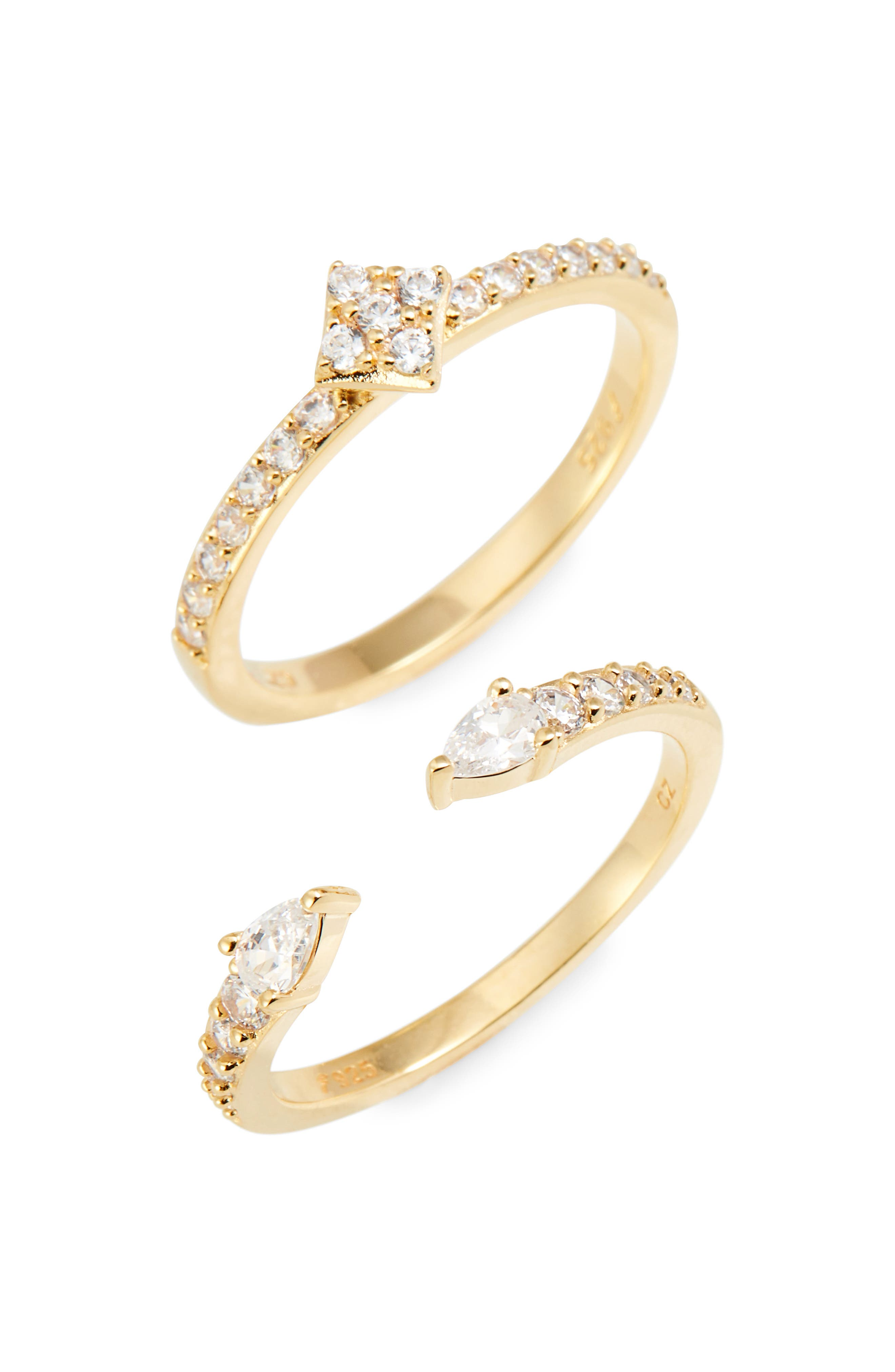 Set of 2 Pavé Cuff Rings,                         Main,                         color, Gold