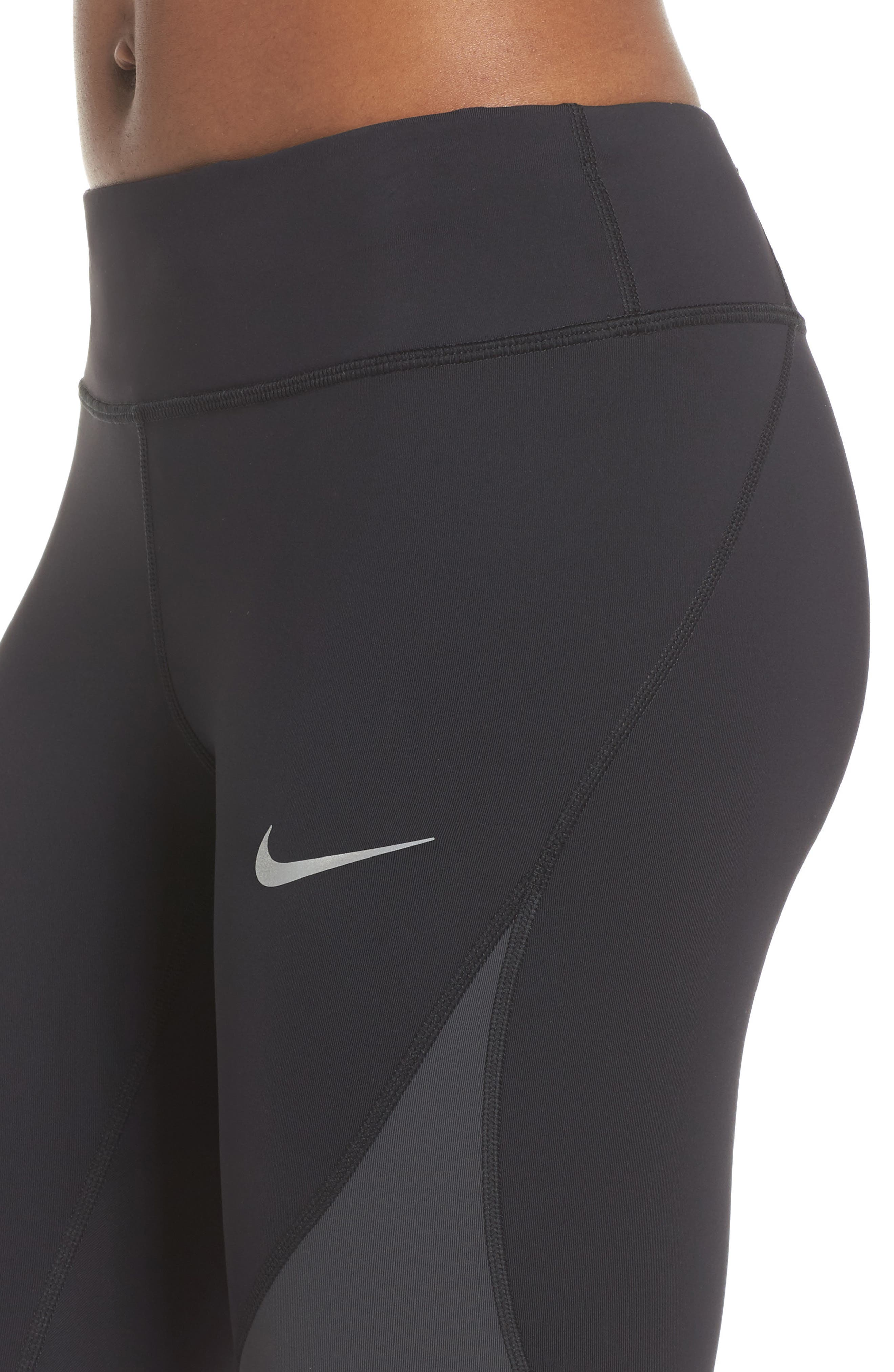 Power Epic Lux Colorblock Running Tights,                             Alternate thumbnail 4, color,                             Black/ Anthracite/ White