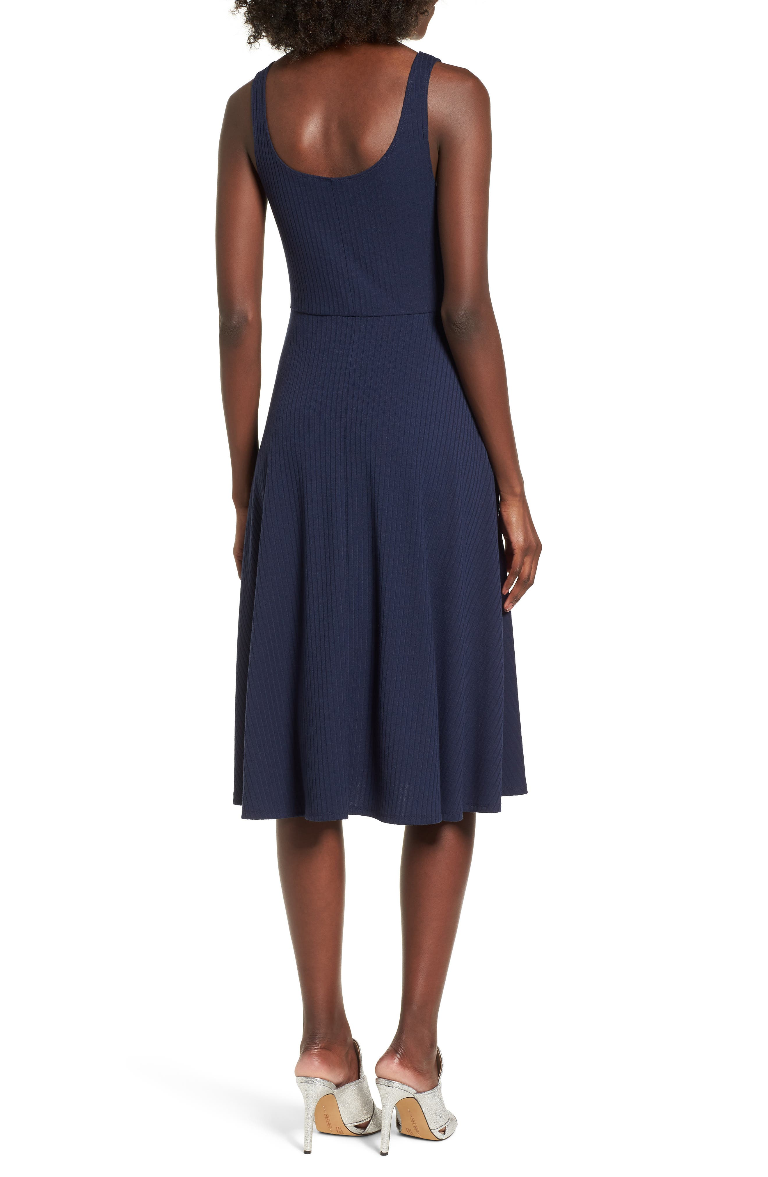Fawn Lace-Up Midi Dress,                             Alternate thumbnail 2, color,                             Navy