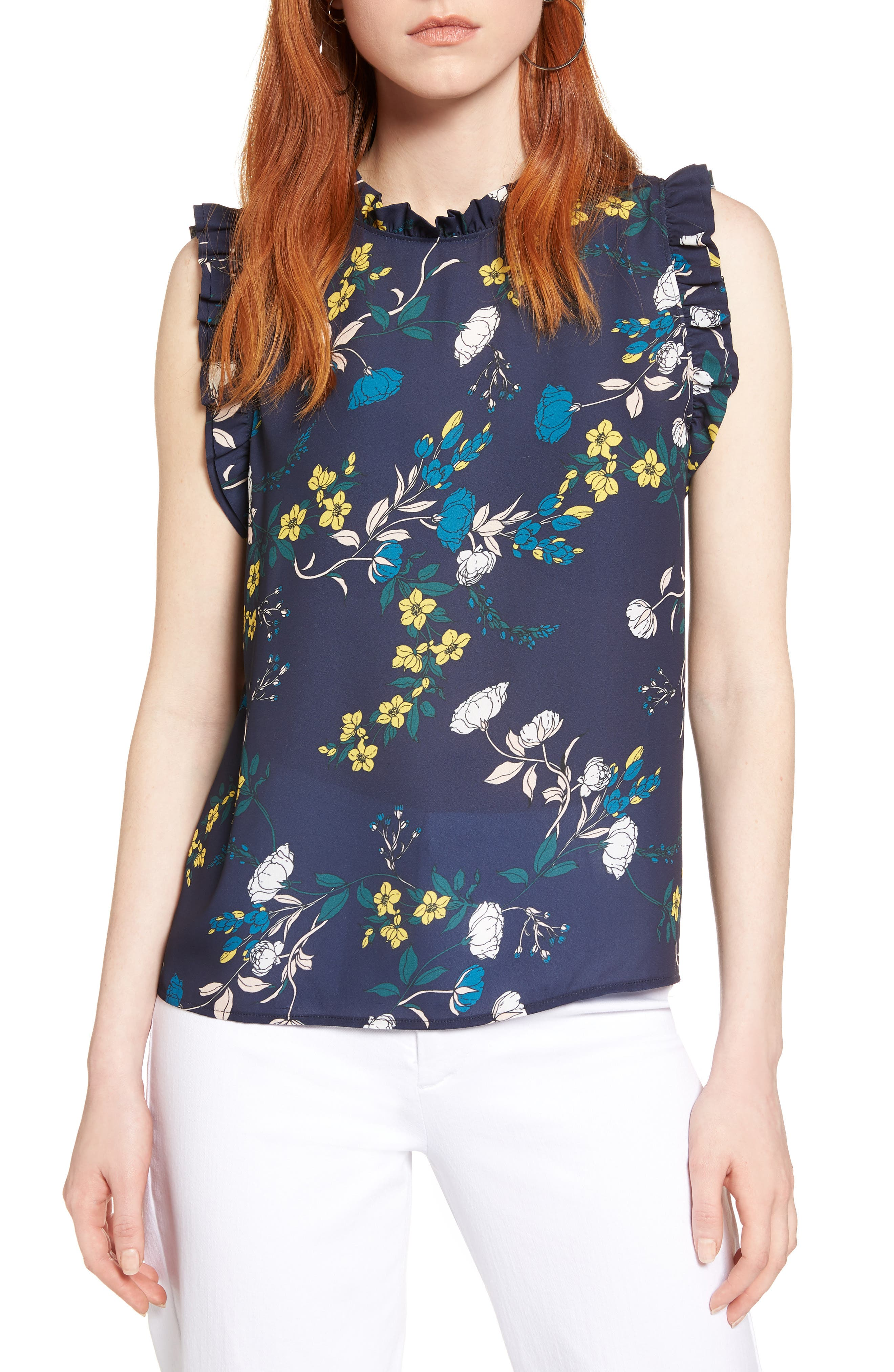 Ruffle Trim Shell Top,                             Main thumbnail 1, color,                             Navy- Ivory Mix Floral