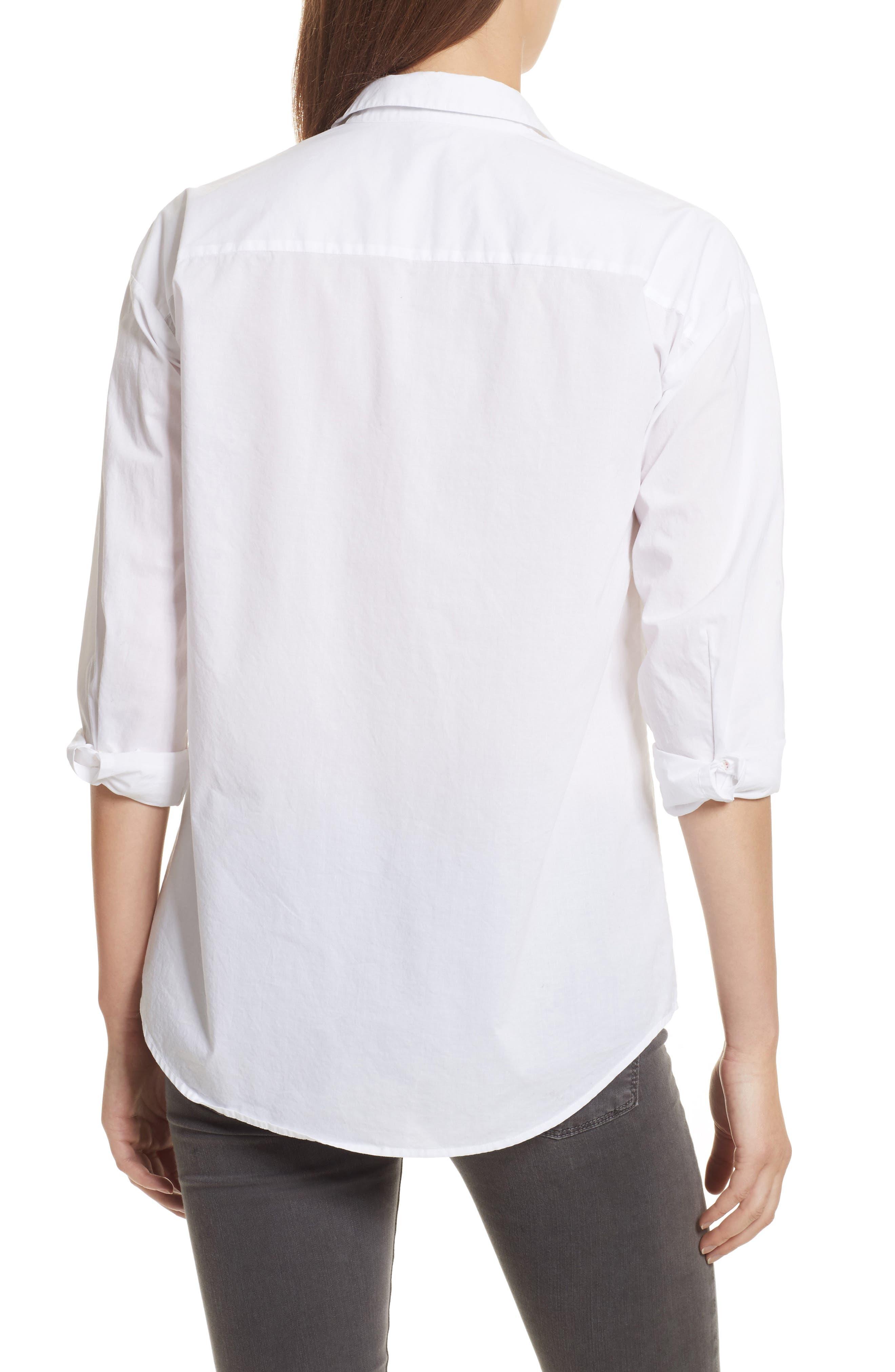 Cotton Poplin Boyfriend Shirt,                             Alternate thumbnail 2, color,                             White