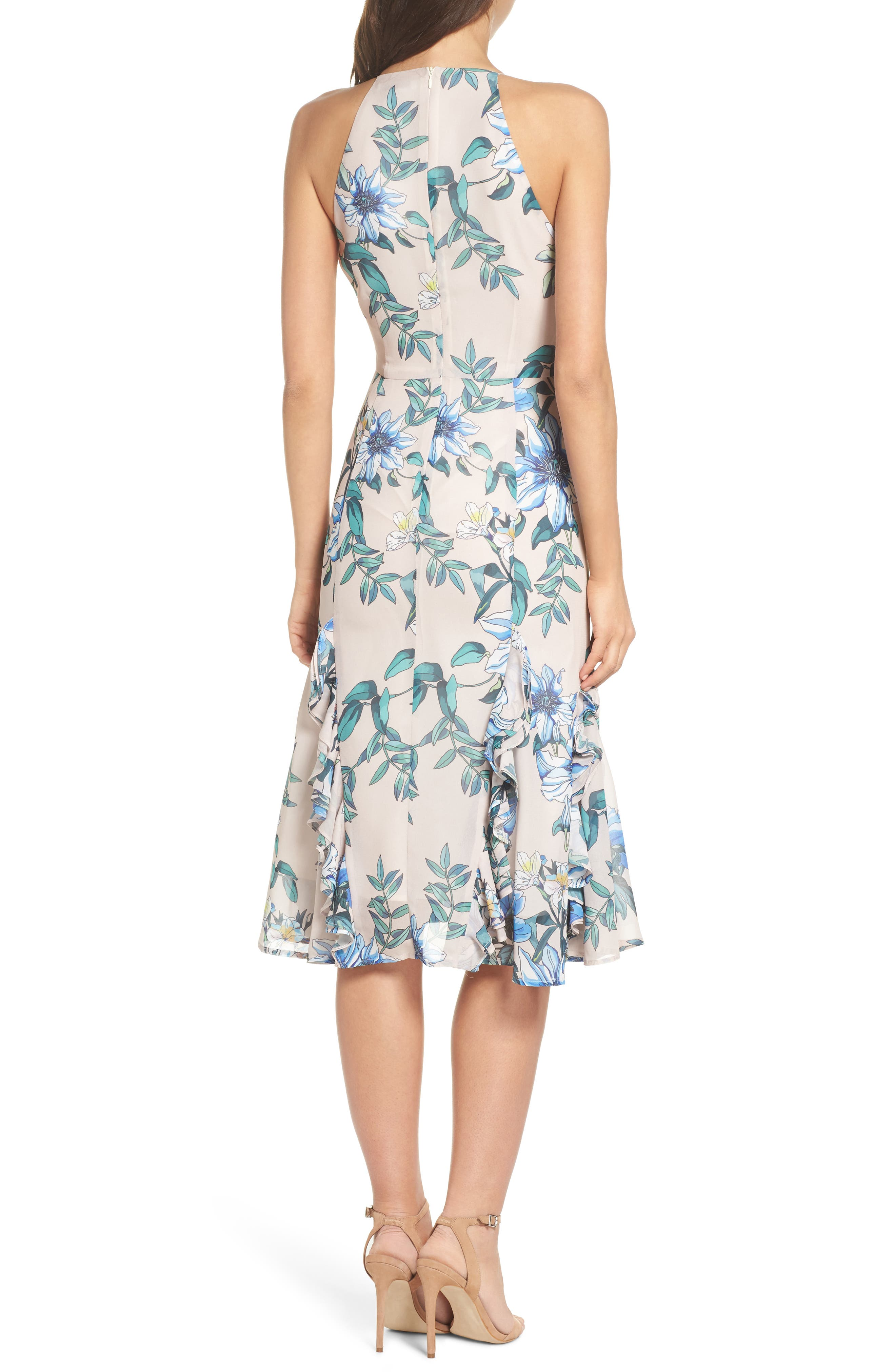 Floral Courtyard Midi Dress,                             Alternate thumbnail 3, color,                             Print Light