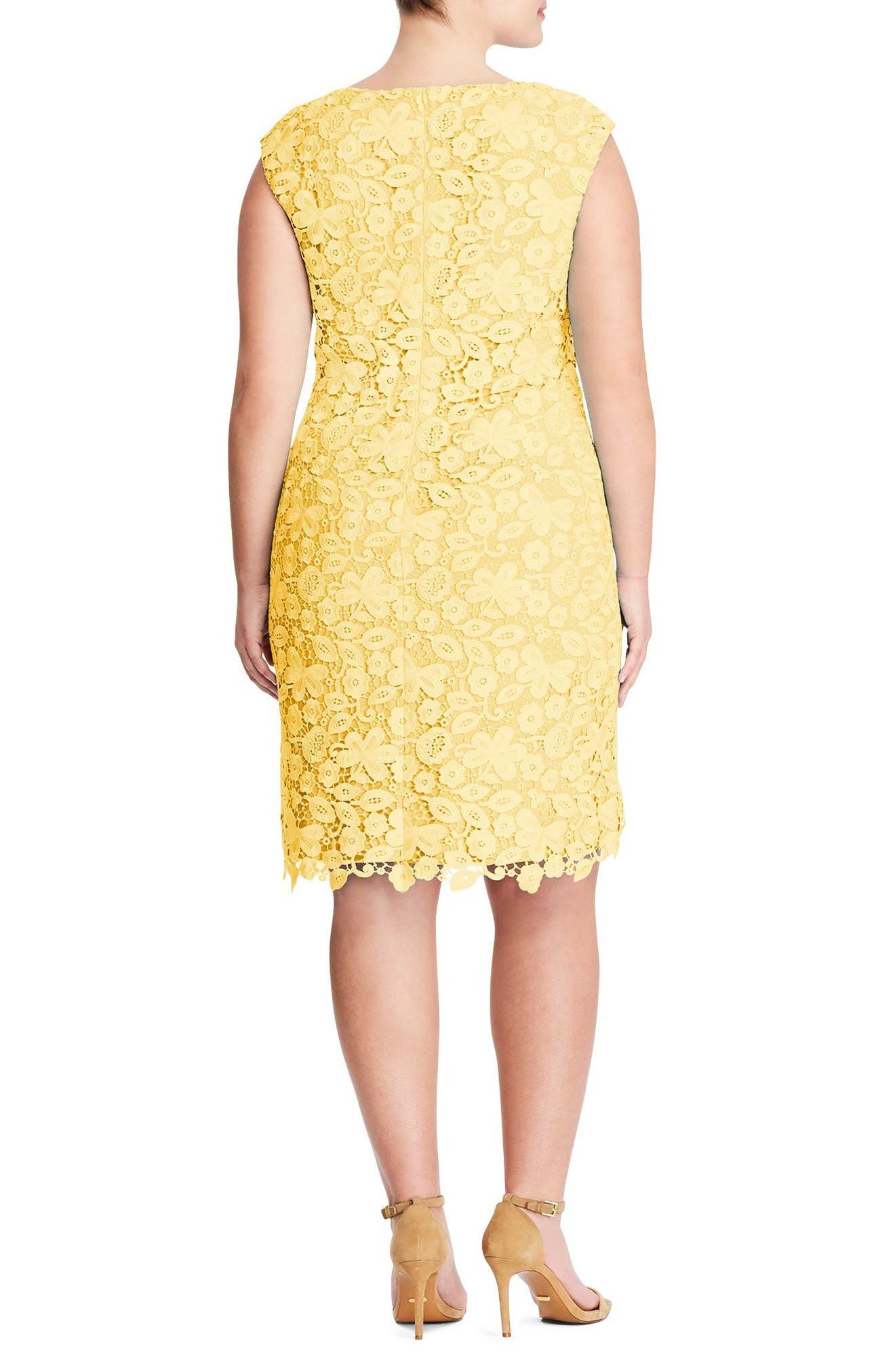 Montie Lace Sheath Dress,                             Alternate thumbnail 2, color,                             Island Yellow