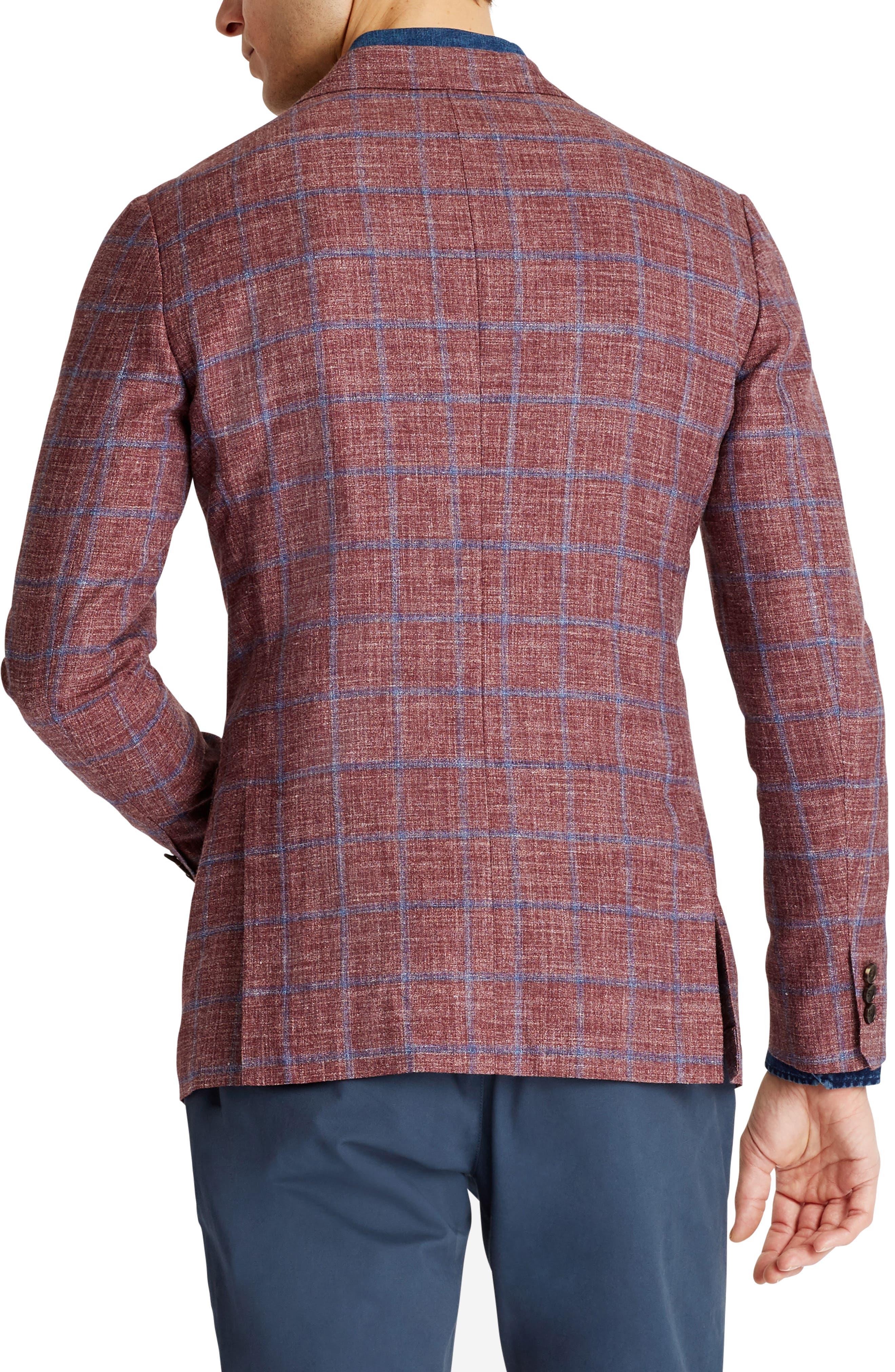 Capstone Slim Fit Windowpane Wool Blend Sport Coat,                             Alternate thumbnail 2, color,                             Red Plaid