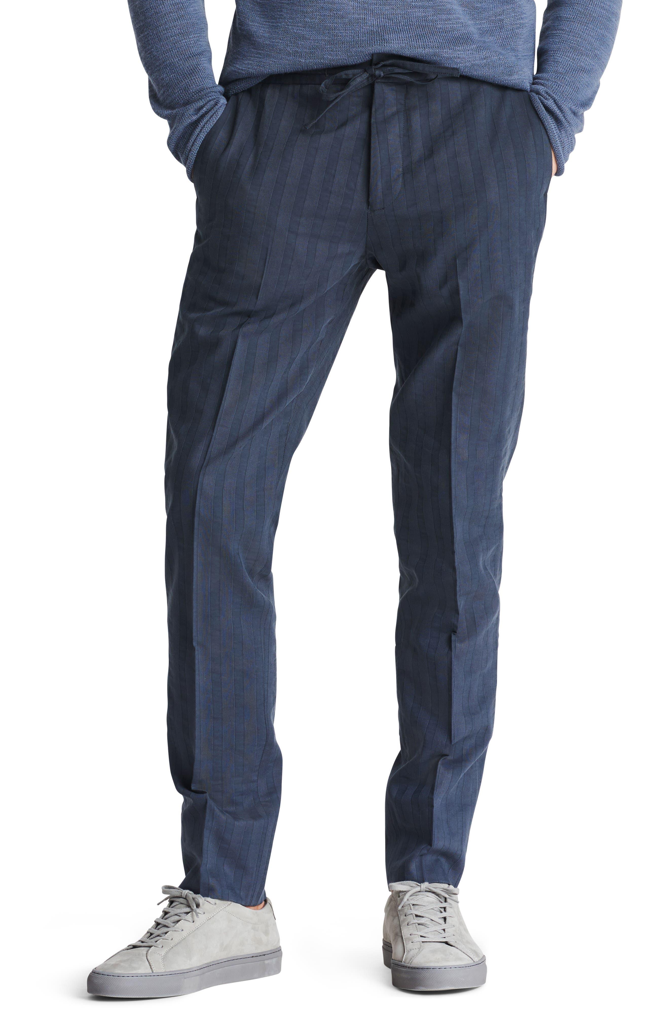 Flat Front Cotton & Linen Blend Trousers,                             Main thumbnail 1, color,                             Stripe Shirtmake