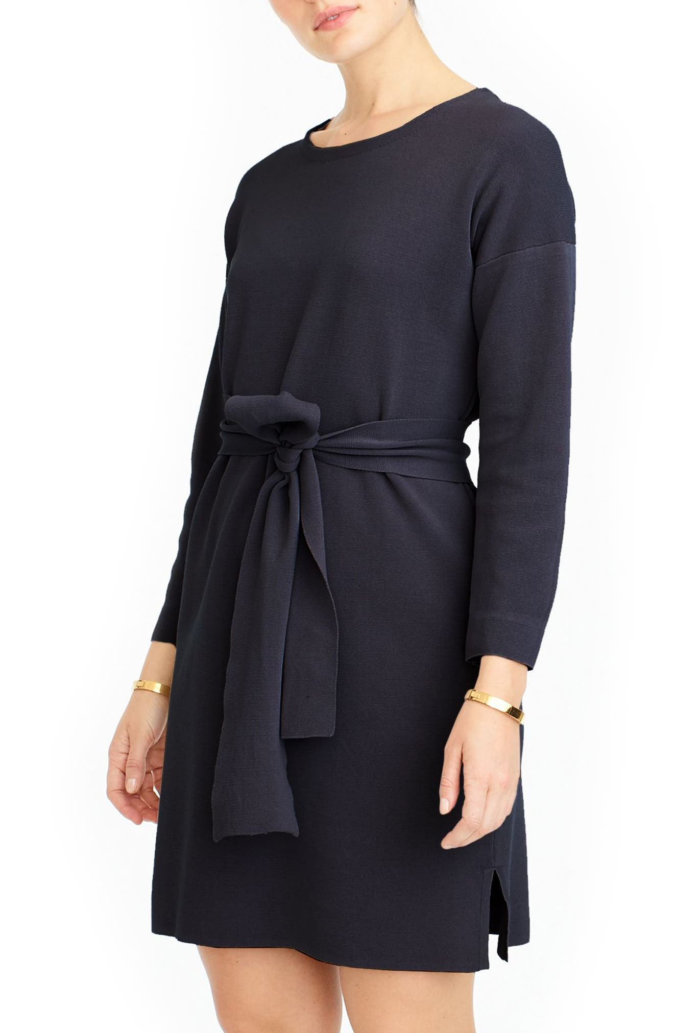 J.Crew Tie Waist Knit Dress,                             Main thumbnail 1, color,                             Indigo Sea