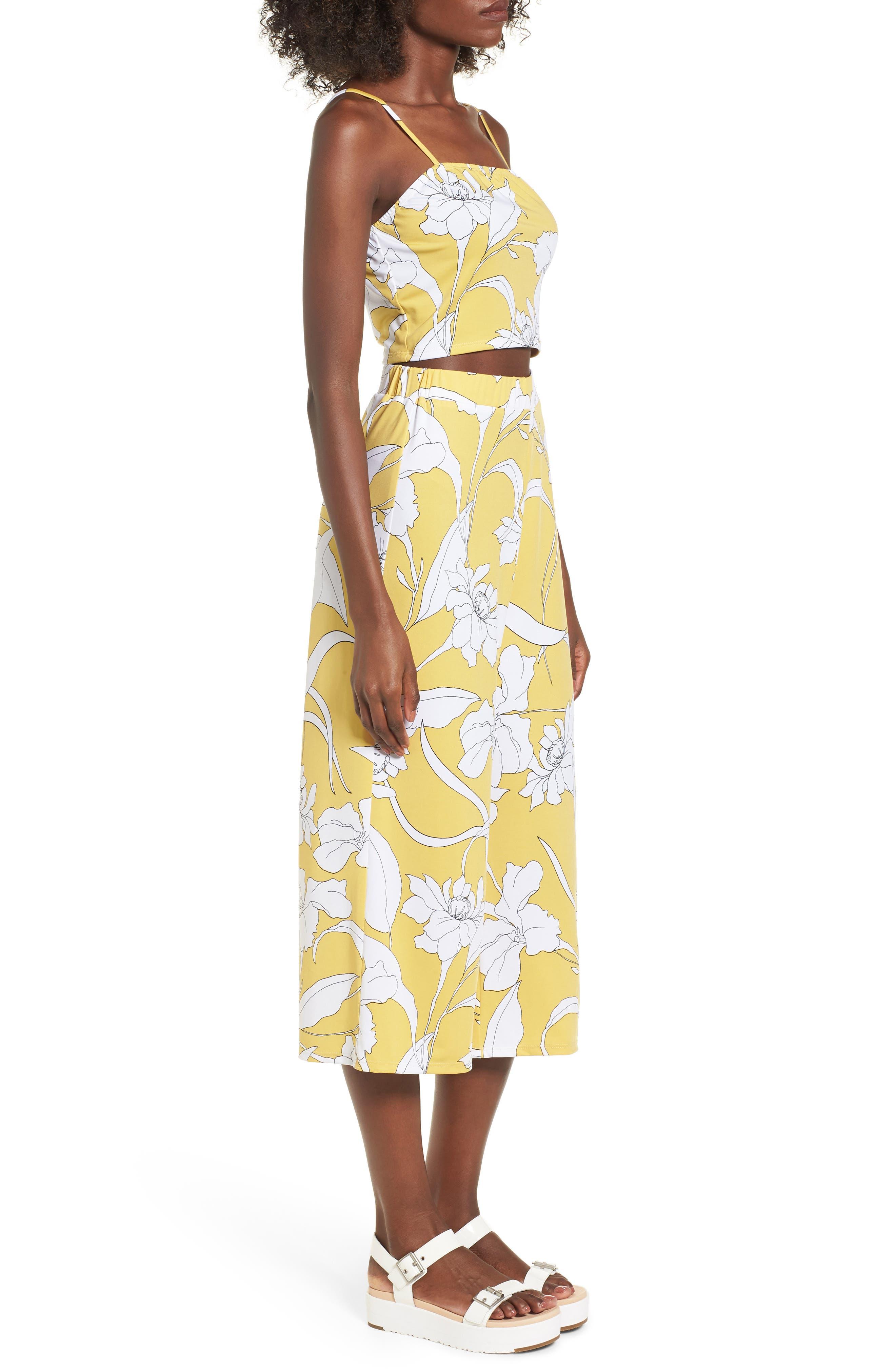 Floral Print Wide Leg Crop Pants,                             Alternate thumbnail 3, color,                             Yellow Floral