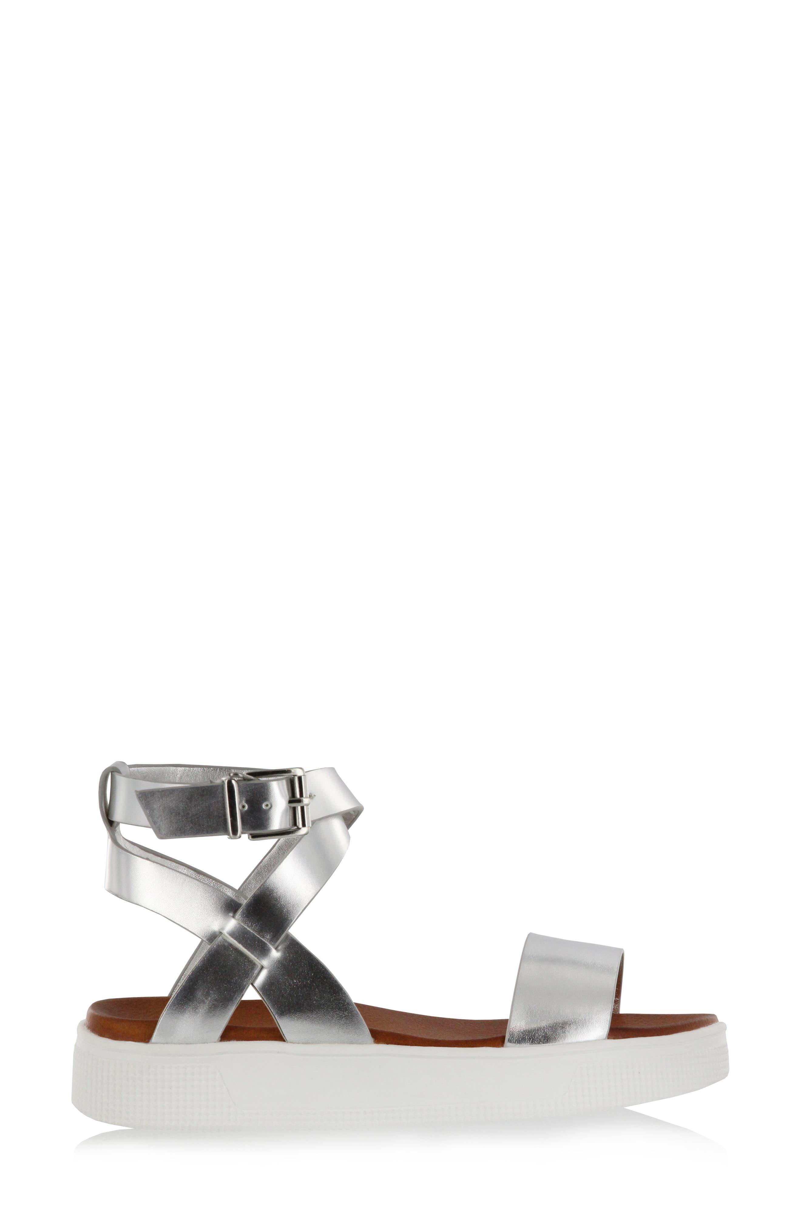 Calla Platform Sandal,                             Alternate thumbnail 3, color,                             Silver Faux Leather