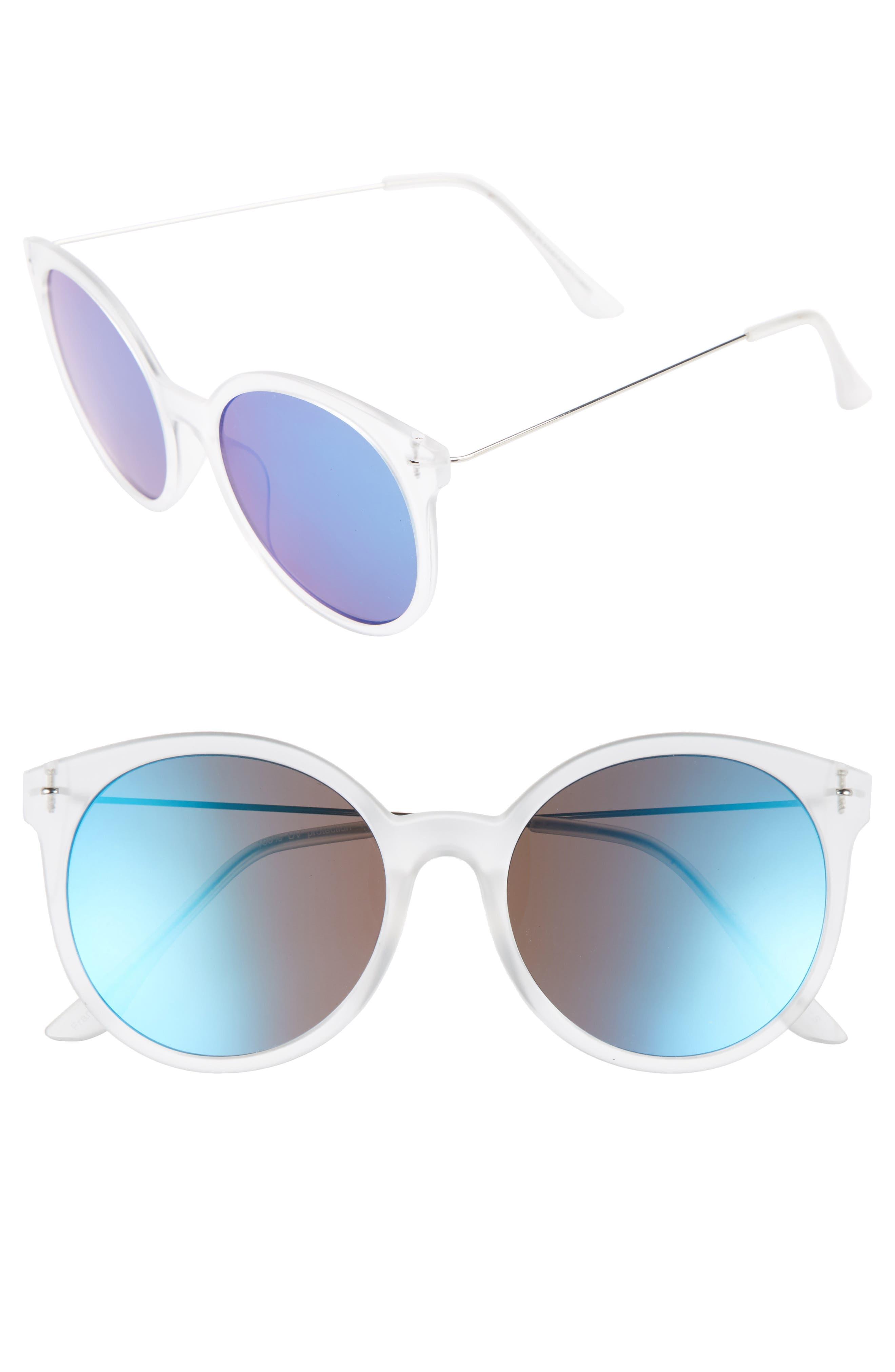 62mm Transparent Round Lens Sunglasses,                         Main,                         color, Clear/ Blue