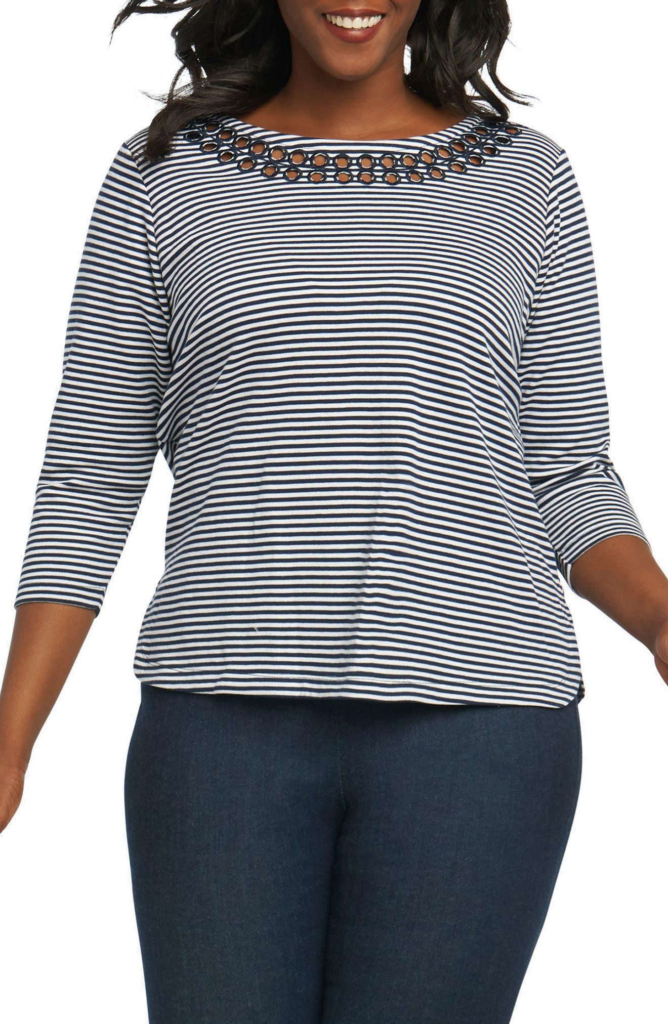 Foxcroft Clara Embroidered Eyelet Stripe Top (Plus Size)