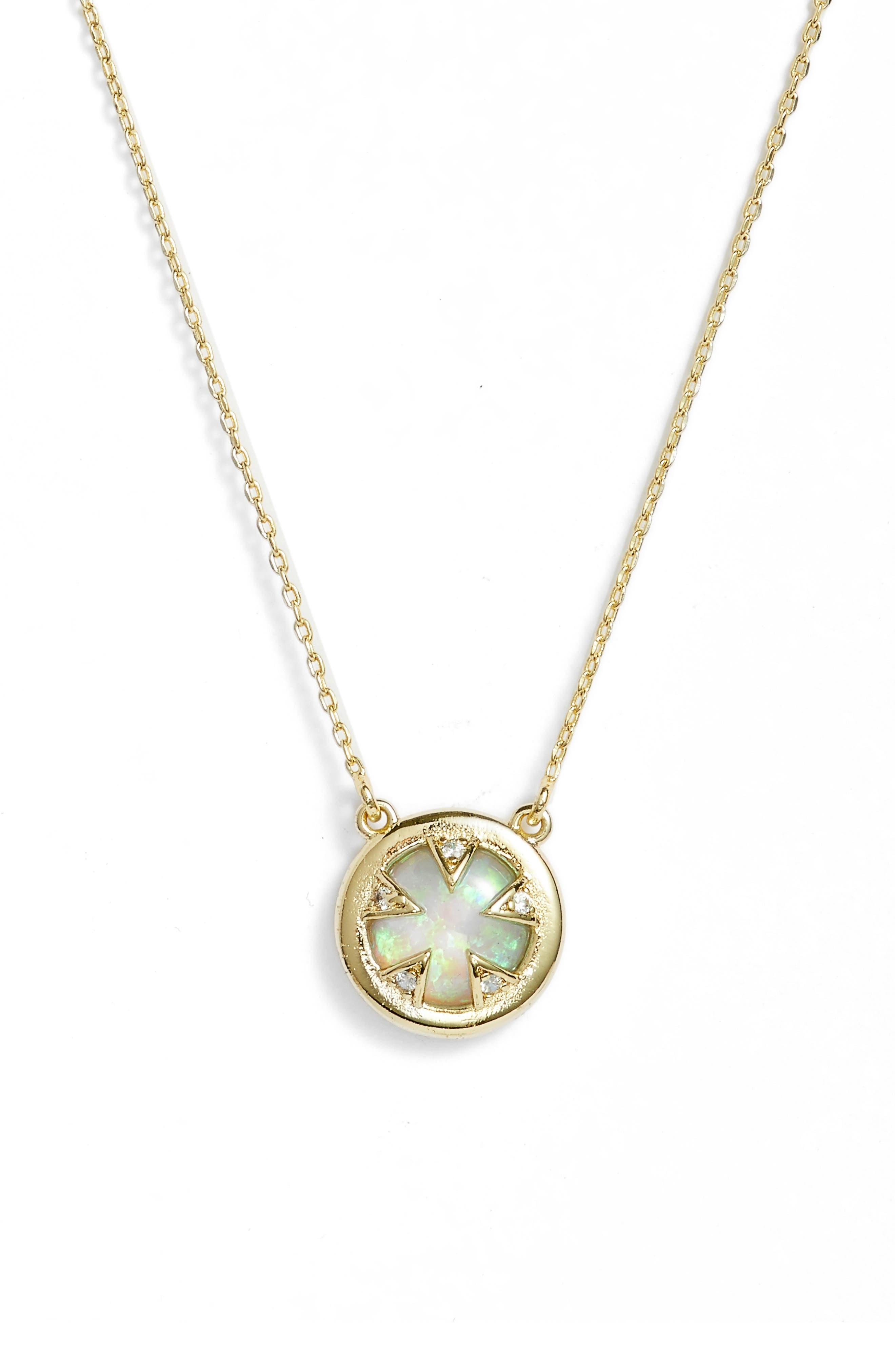 Tessa Mini Necklace,                         Main,                         color, Opal/ Cz