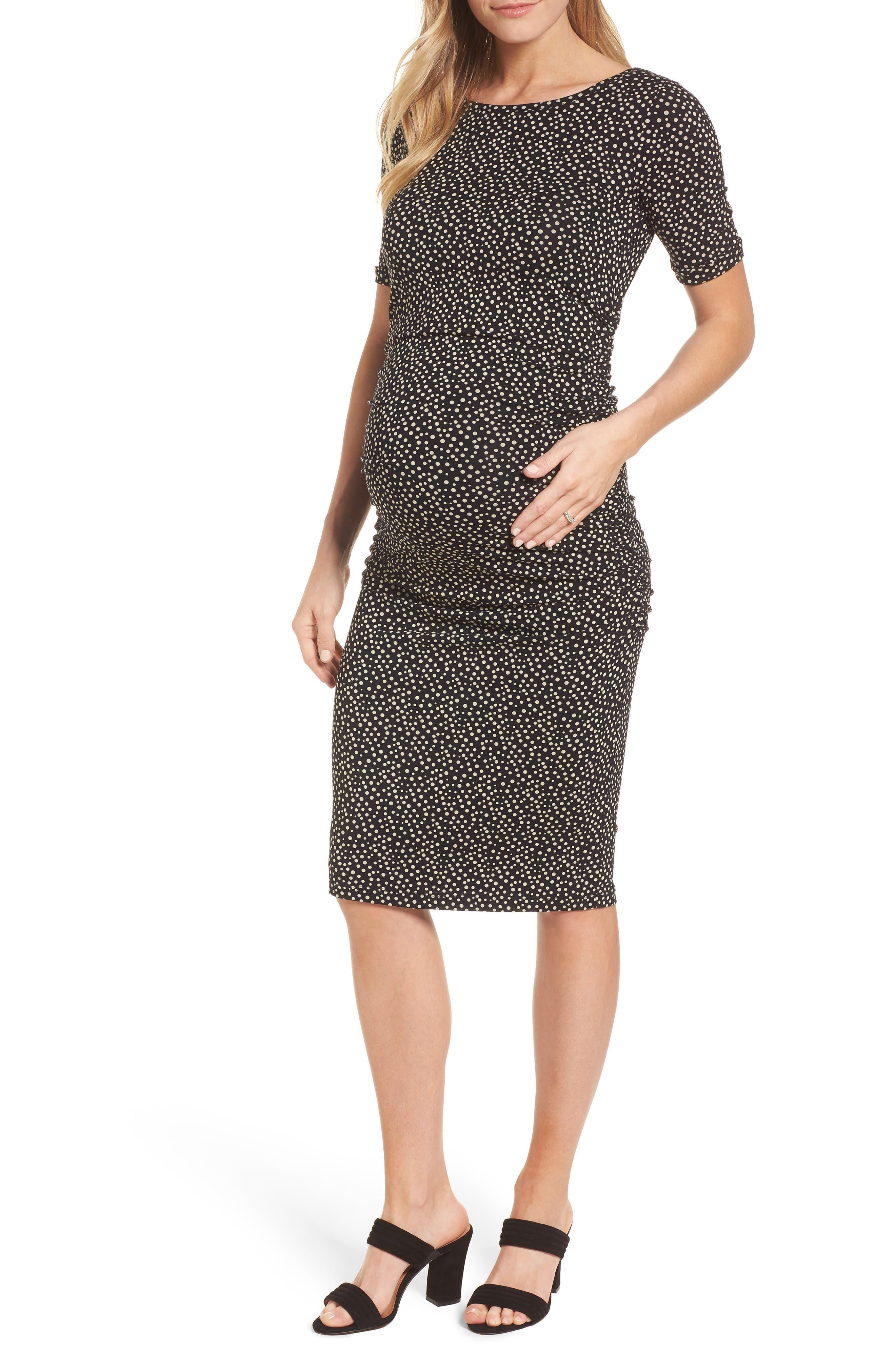 Danni Ruched Maternity Dress,                         Main,                         color, Polka Print