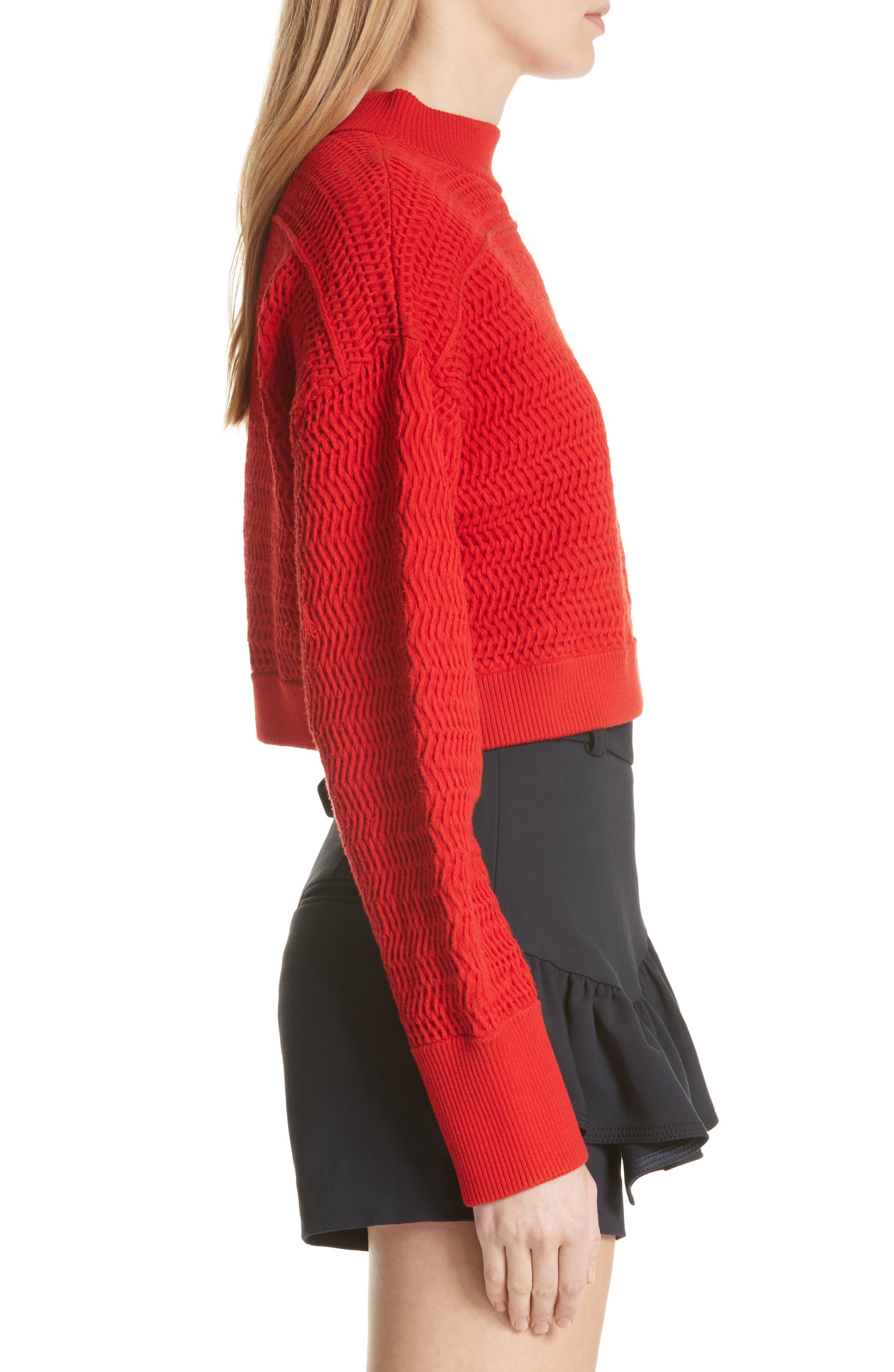 Faux Plait Silk Blend Crop Sweater,                             Alternate thumbnail 3, color,                             Poppy