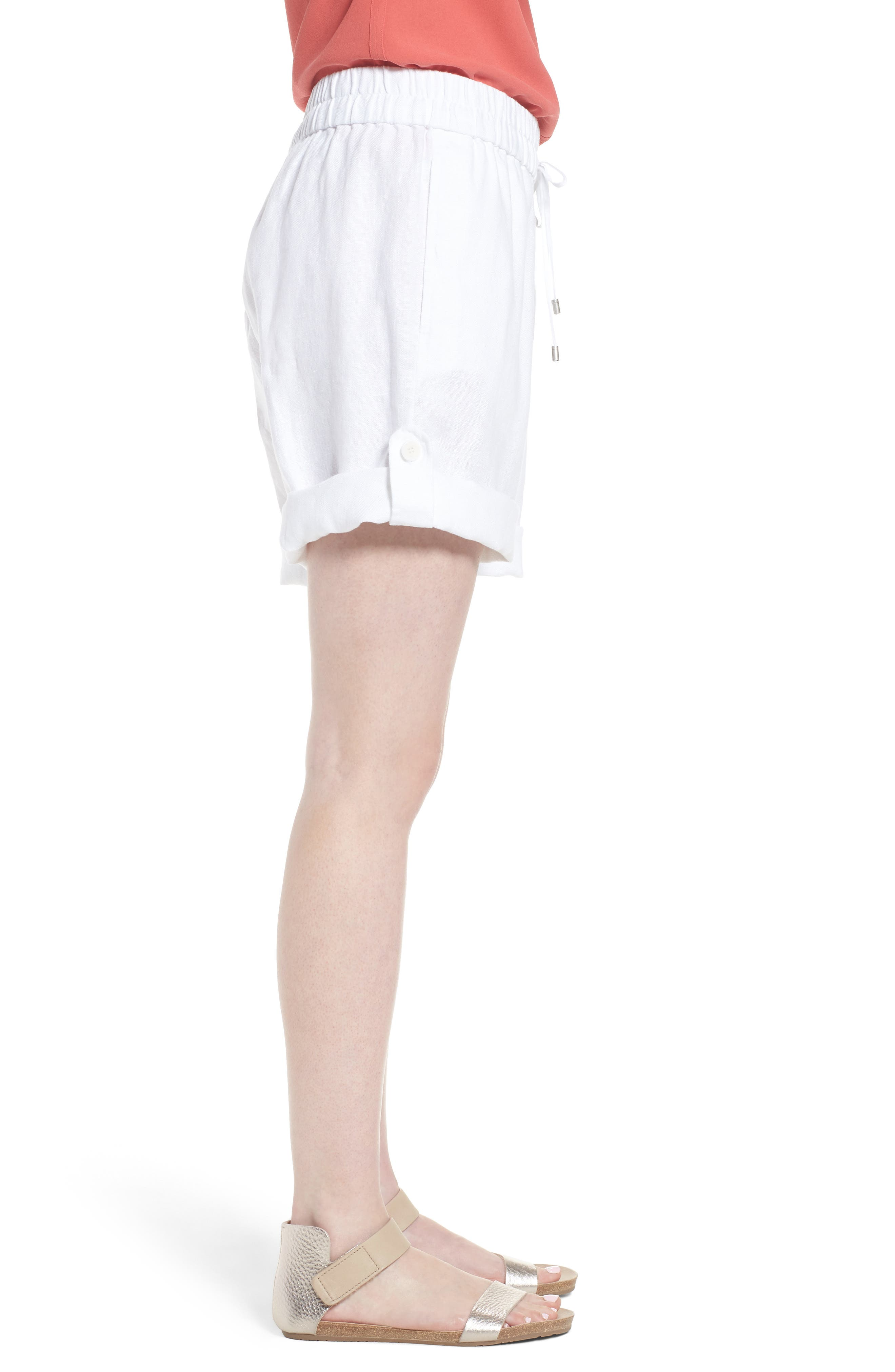 Rolled Organic Linen Shorts,                             Alternate thumbnail 3, color,                             White
