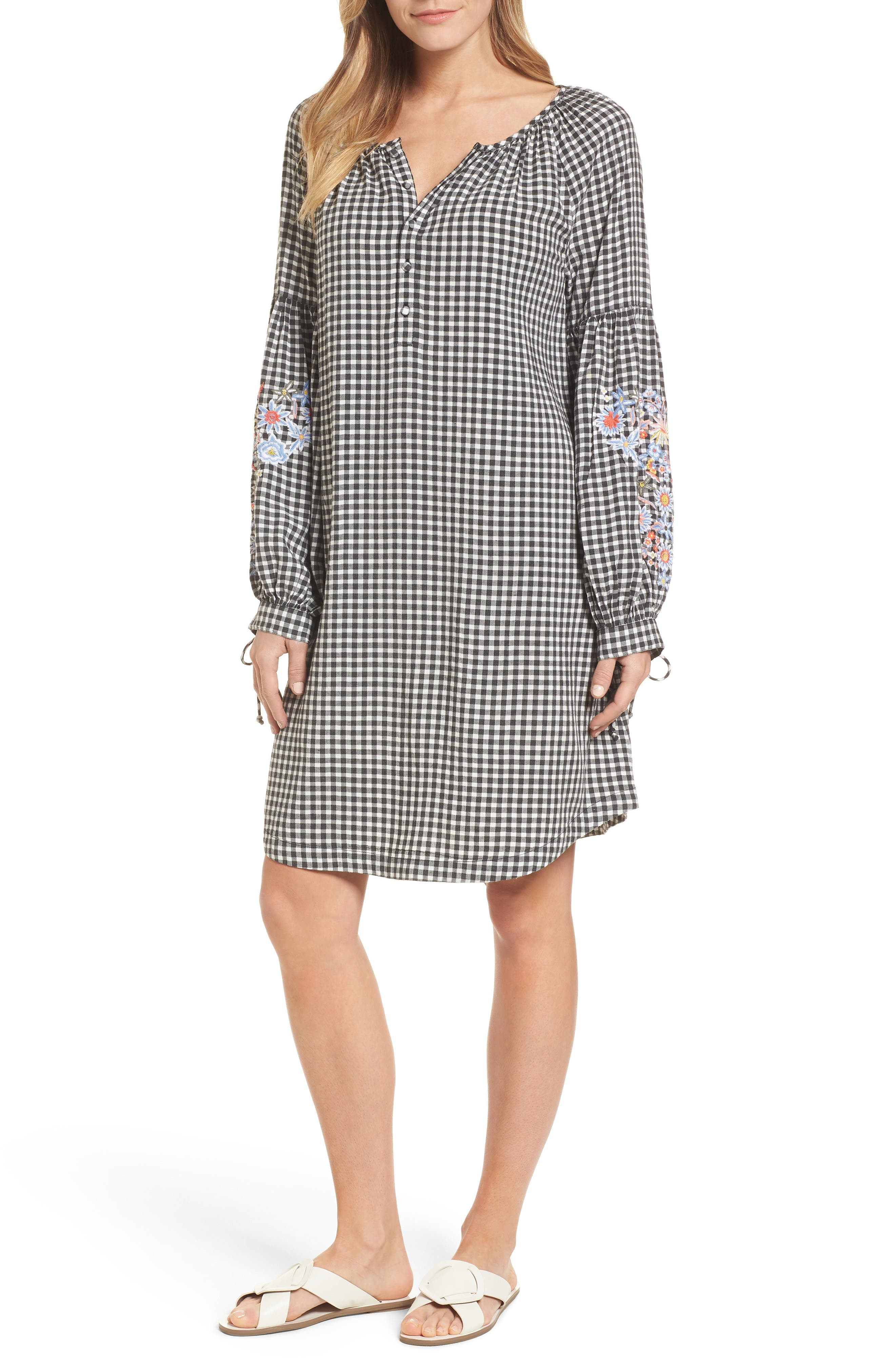 Embroidered Sleeve Shift Dress,                         Main,                         color, Black-White Gingham