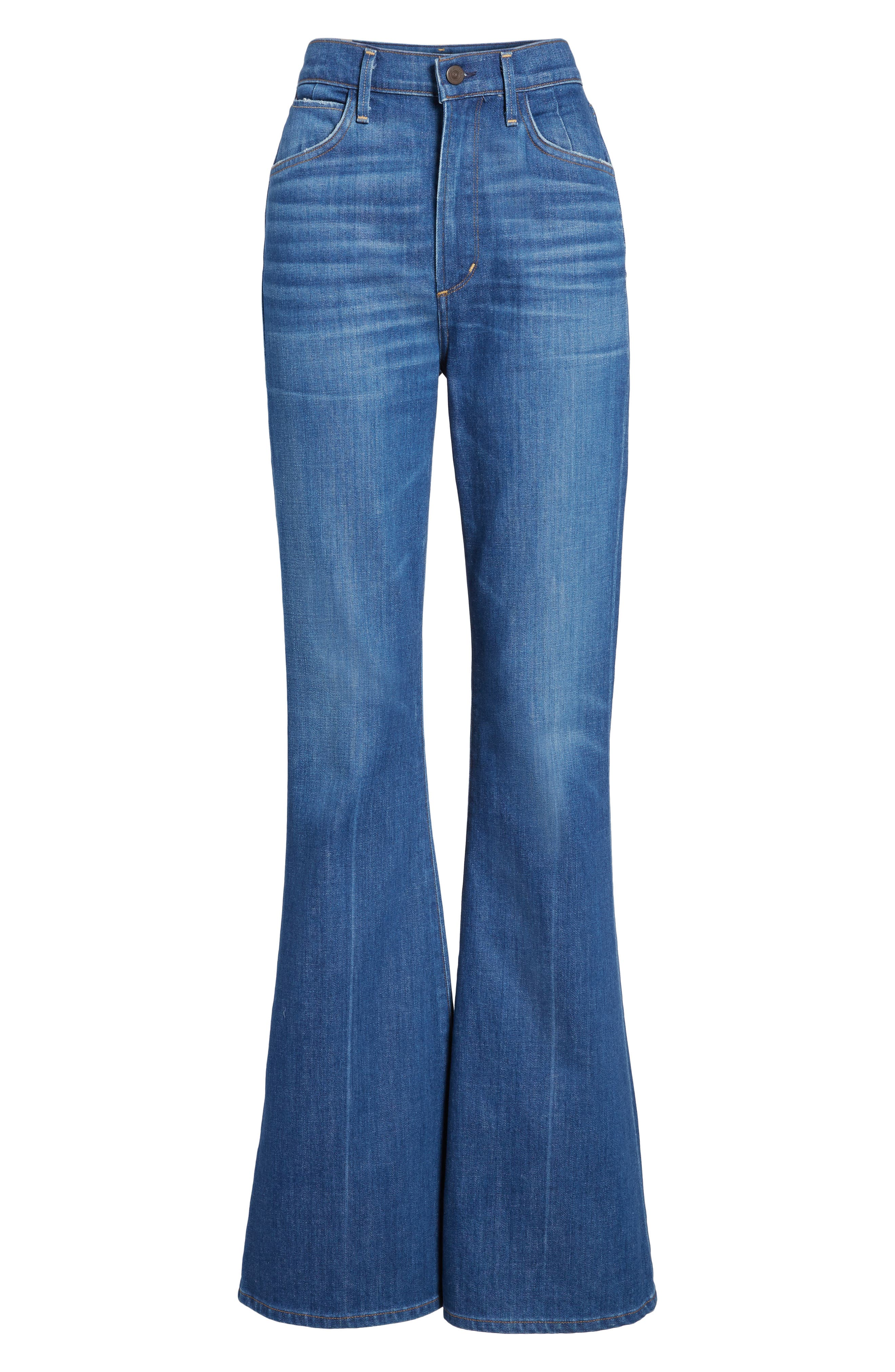 Cherie High Waist Bell Jeans,                             Alternate thumbnail 7, color,                             Frampton