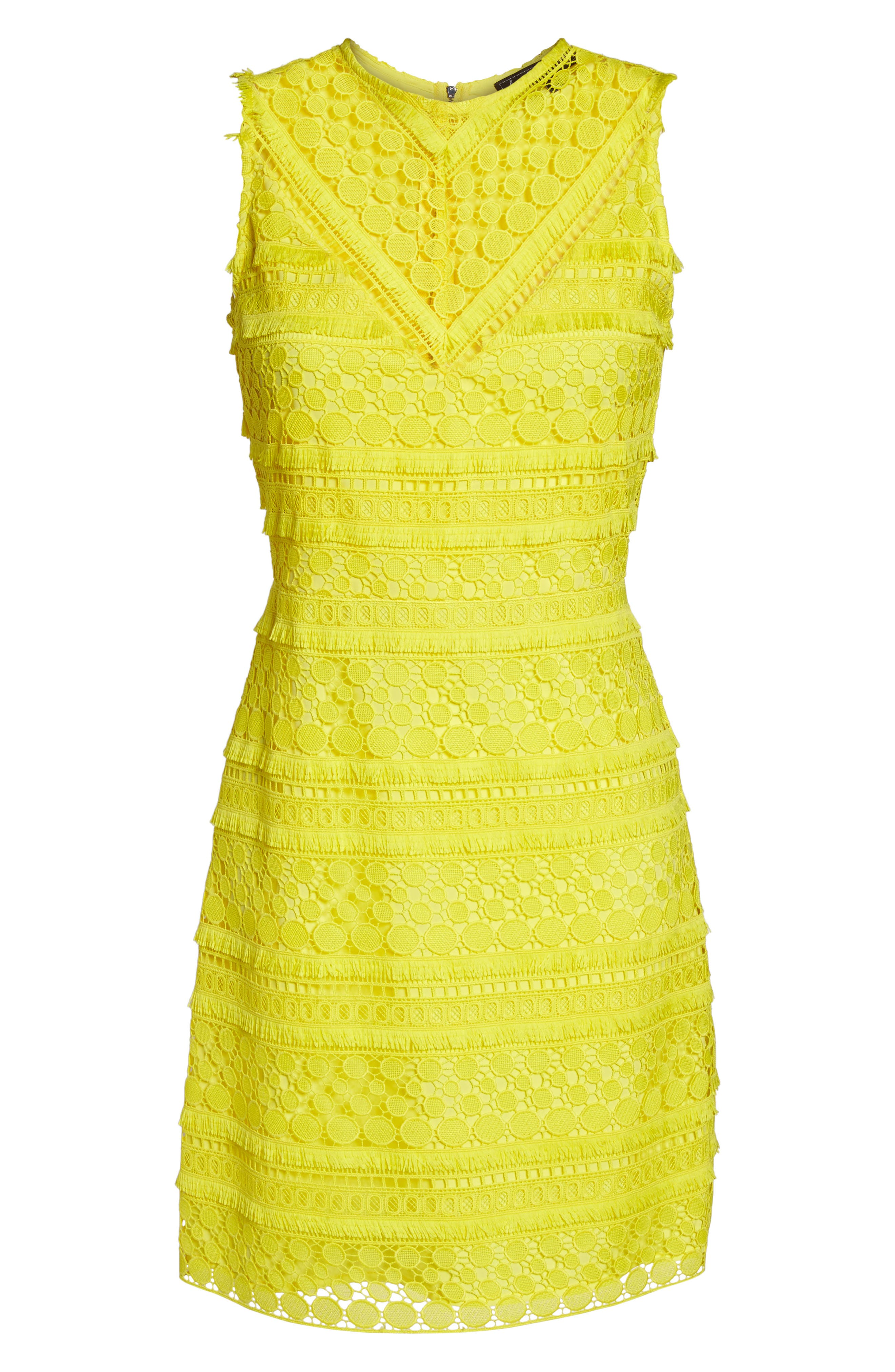 Lace Sheath Dress,                             Alternate thumbnail 6, color,                             Yellow