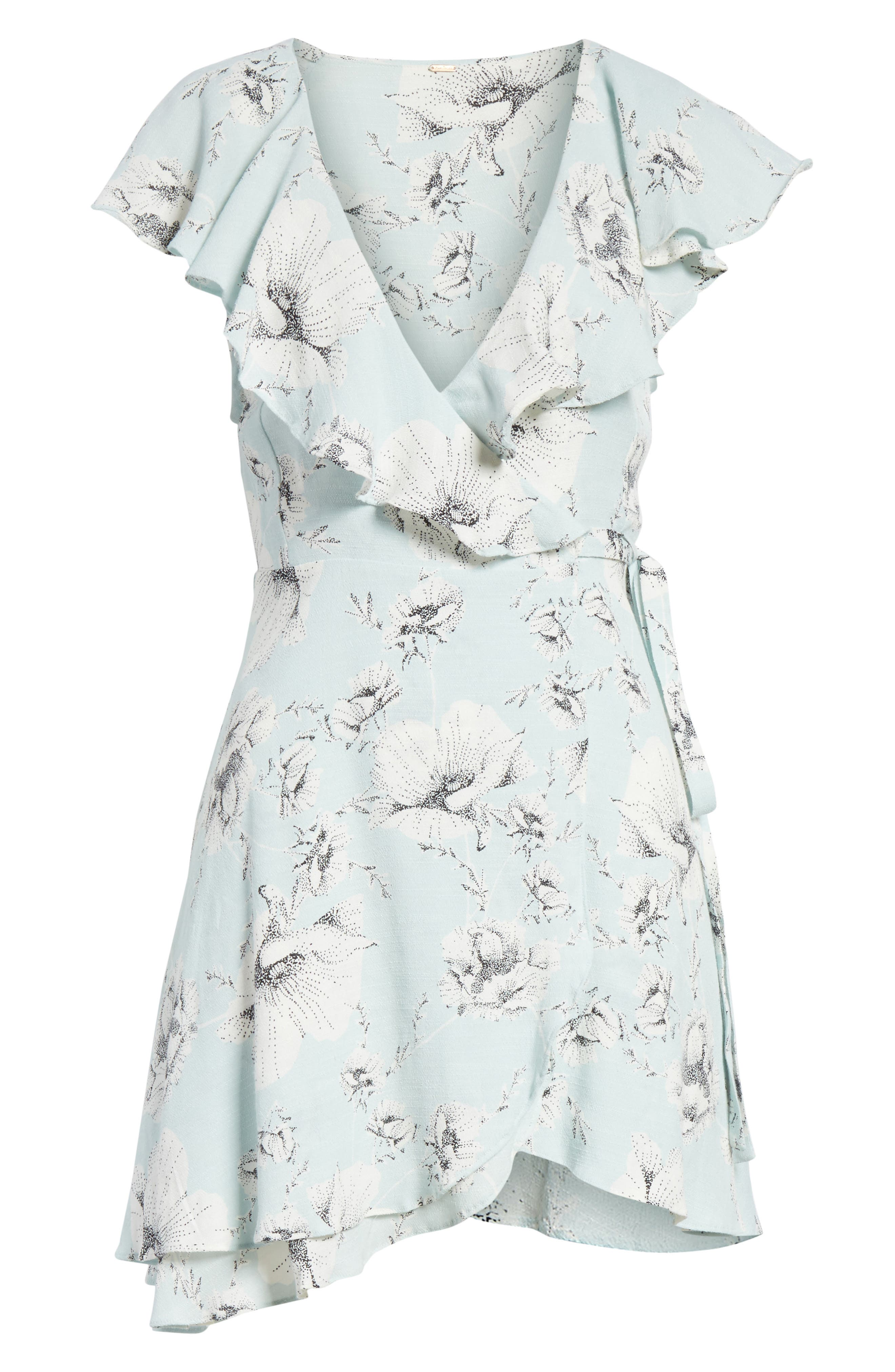 French Quarter Print Wrap Minidress,                             Alternate thumbnail 6, color,                             Mint
