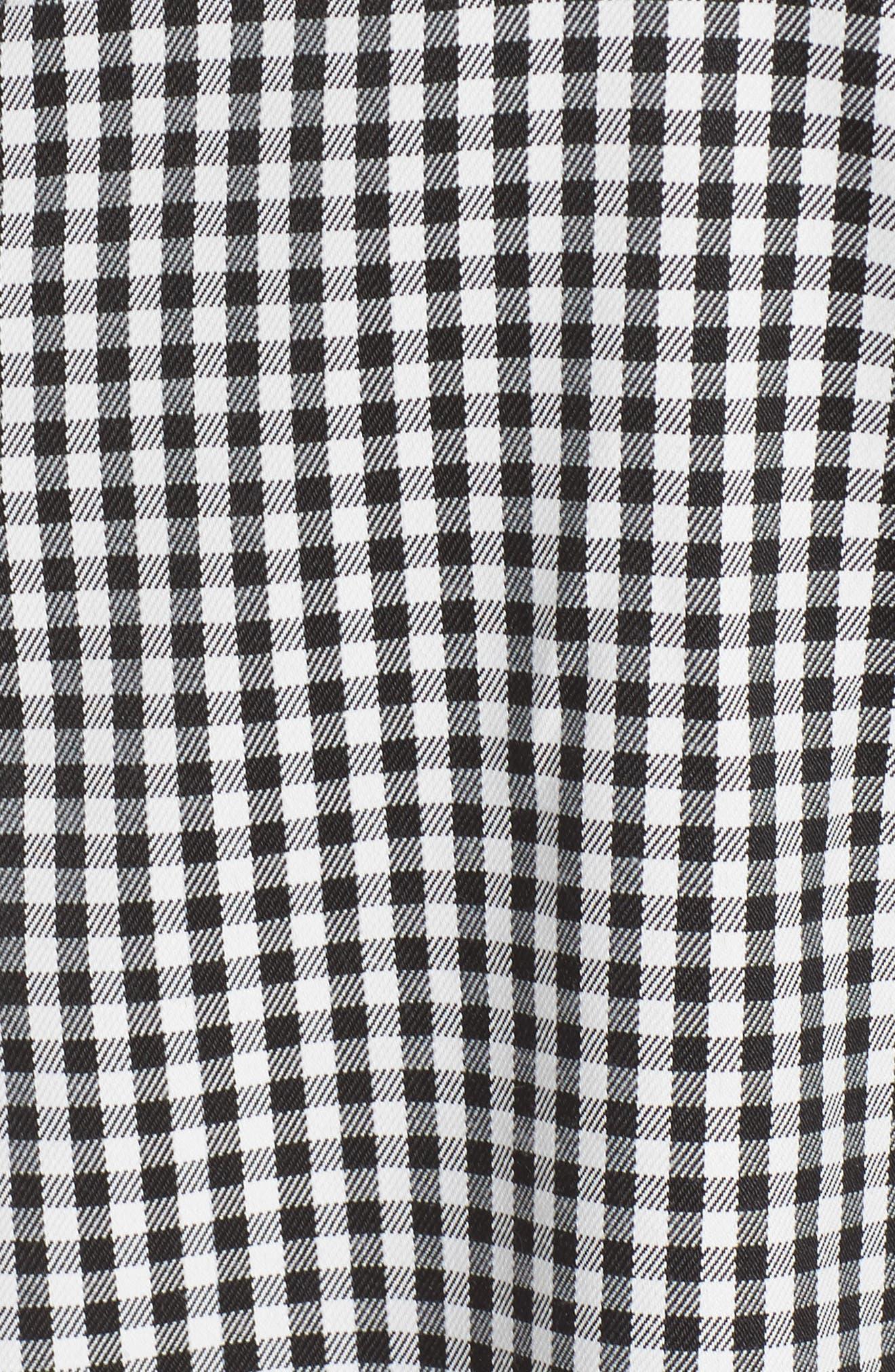 One-Shoulder Gingham Dress,                             Alternate thumbnail 5, color,                             Black/ White