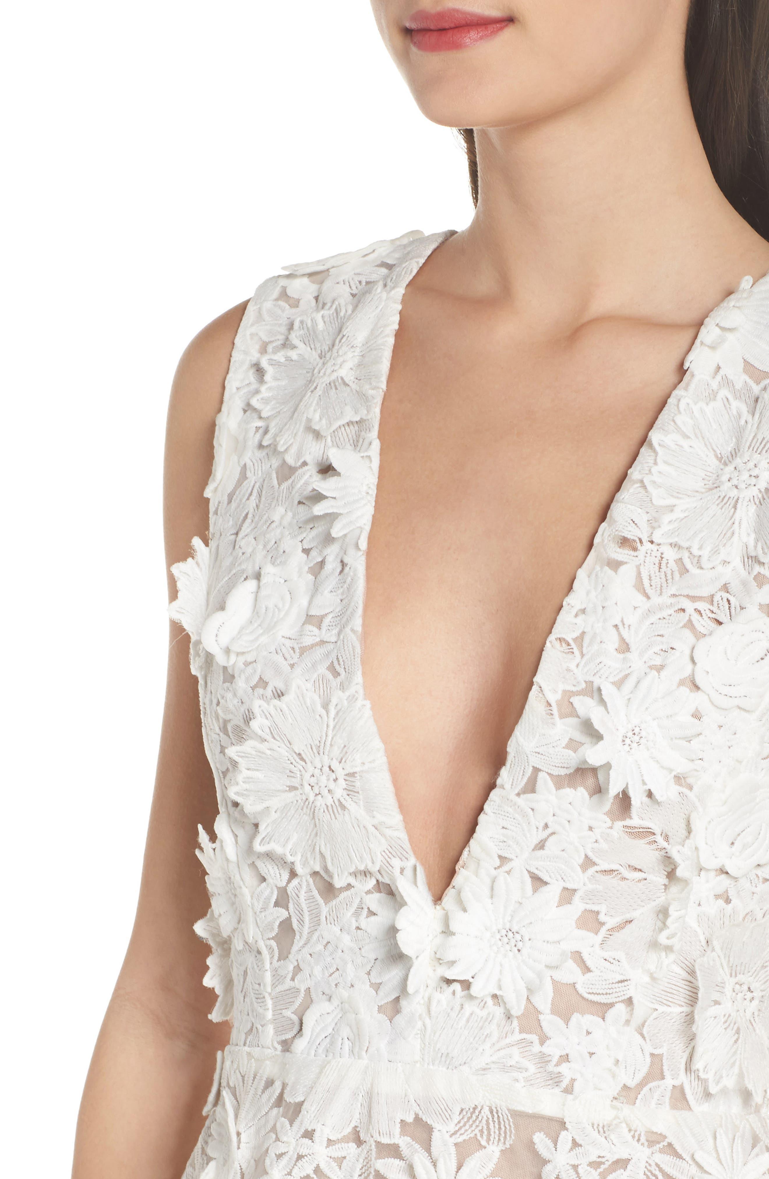 Mila Lace Fit & Flare Dress,                             Alternate thumbnail 4, color,                             White