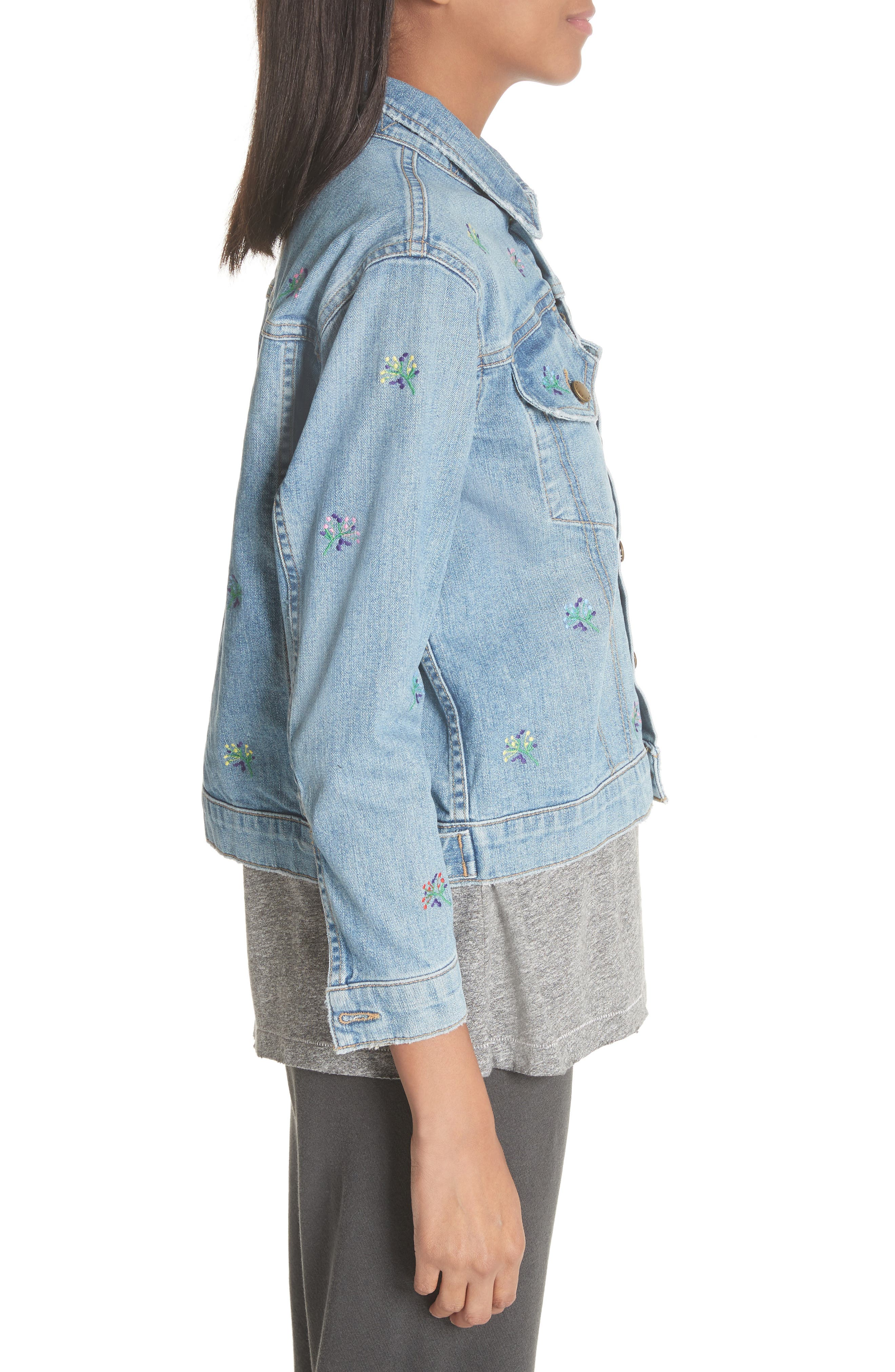 The Boxy Jean Jacket,                             Alternate thumbnail 3, color,                             Canteen Wash W/ Flower Emb