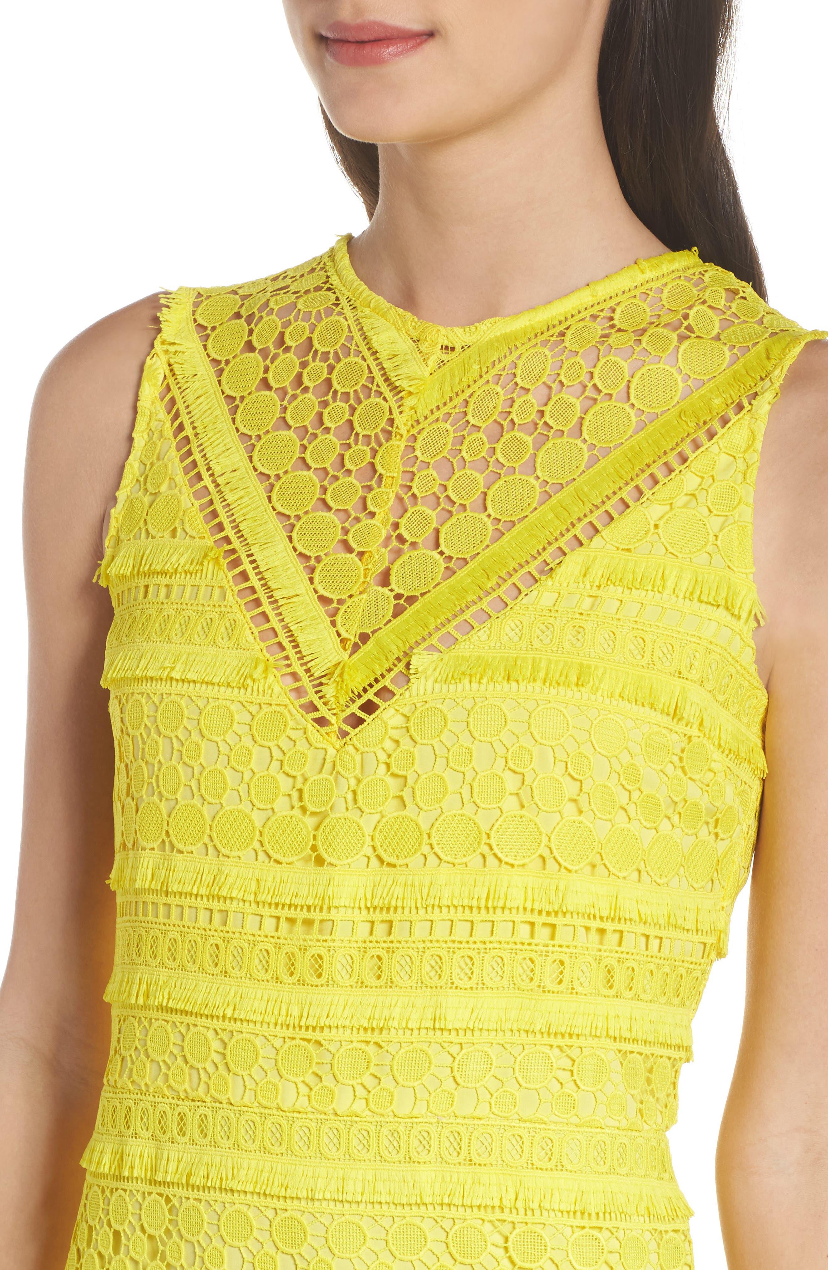 Lace Sheath Dress,                             Alternate thumbnail 4, color,                             Yellow