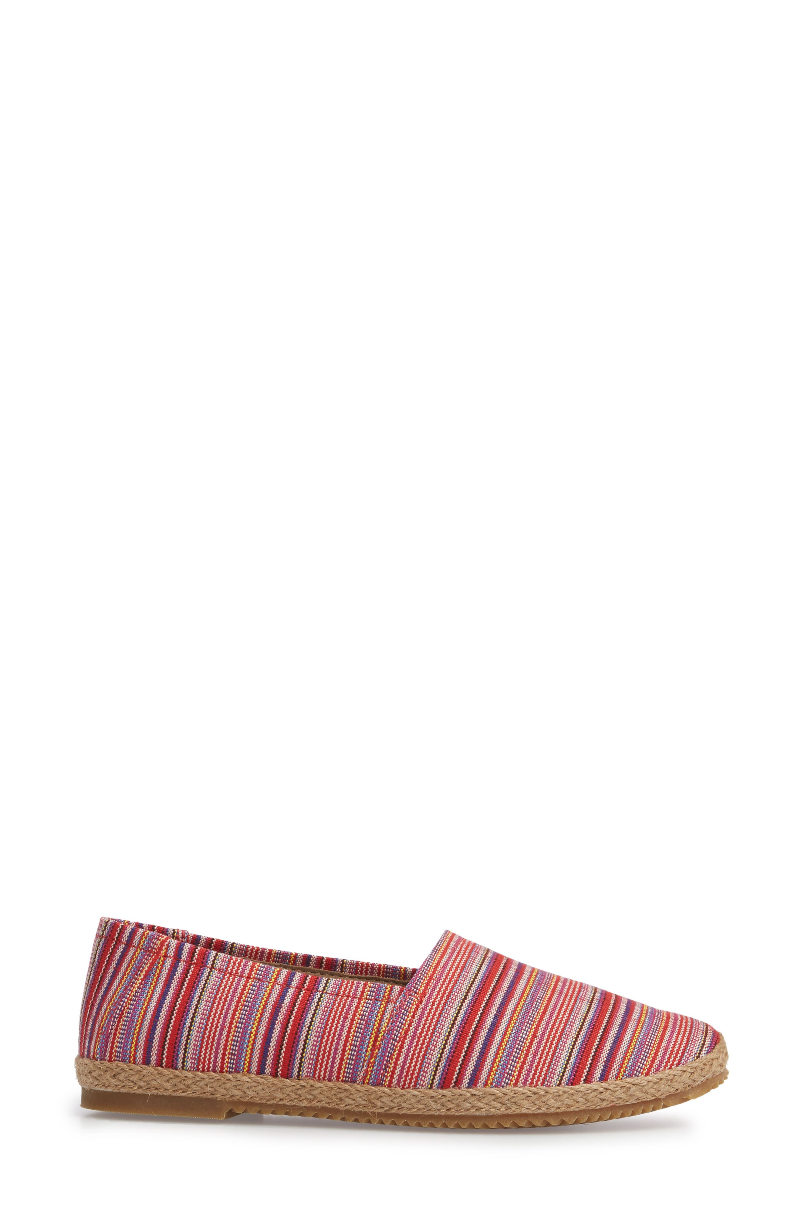 Kylie Slip-On,                             Alternate thumbnail 3, color,                             Pink Stripe Fabric