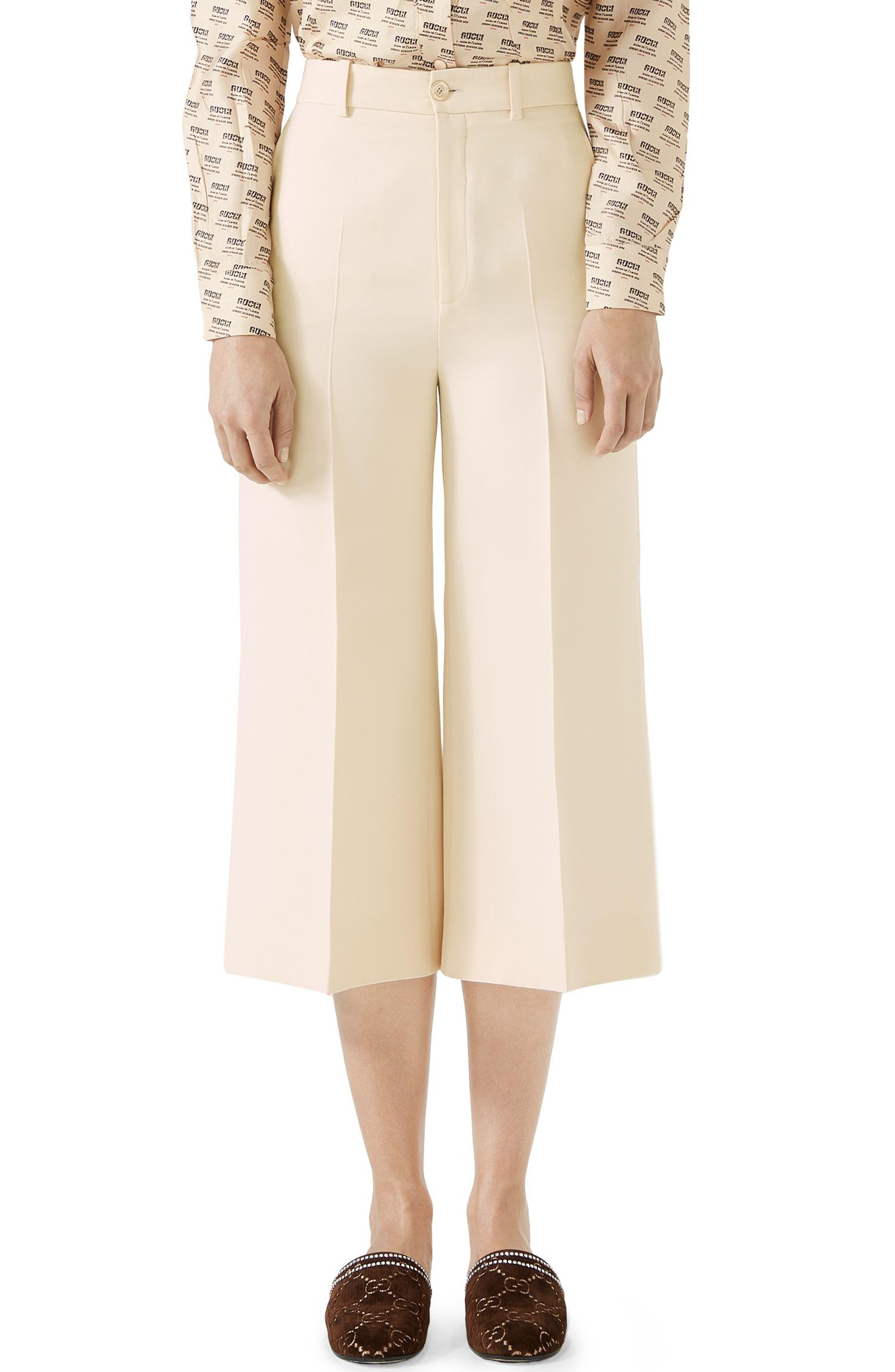 Wool & Silk Cady Wide Leg Crop Pants,                         Main,                         color, Gardenia