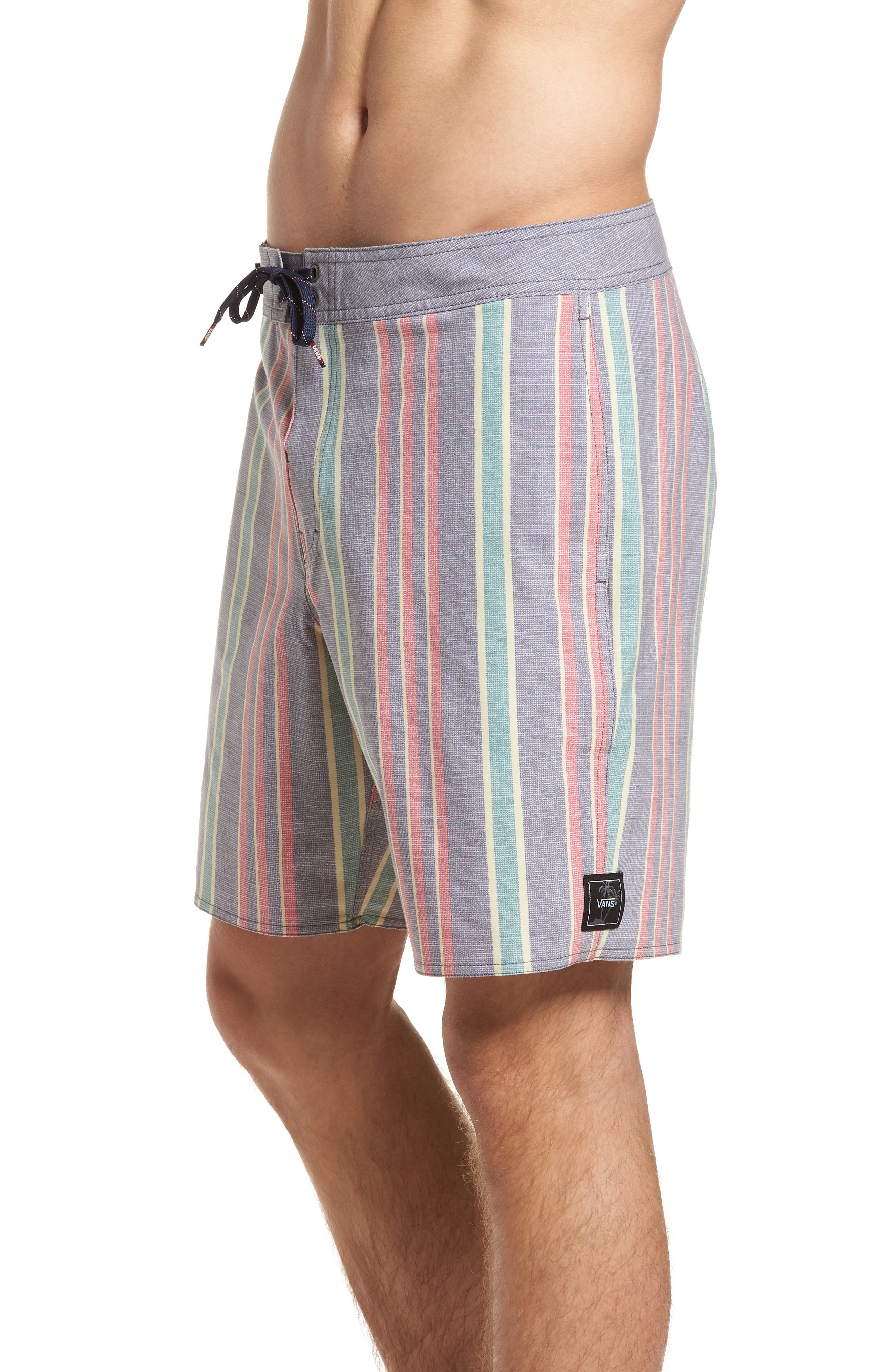 Vertical Stripe Board Shorts,                             Alternate thumbnail 4, color,                             Dress Blues