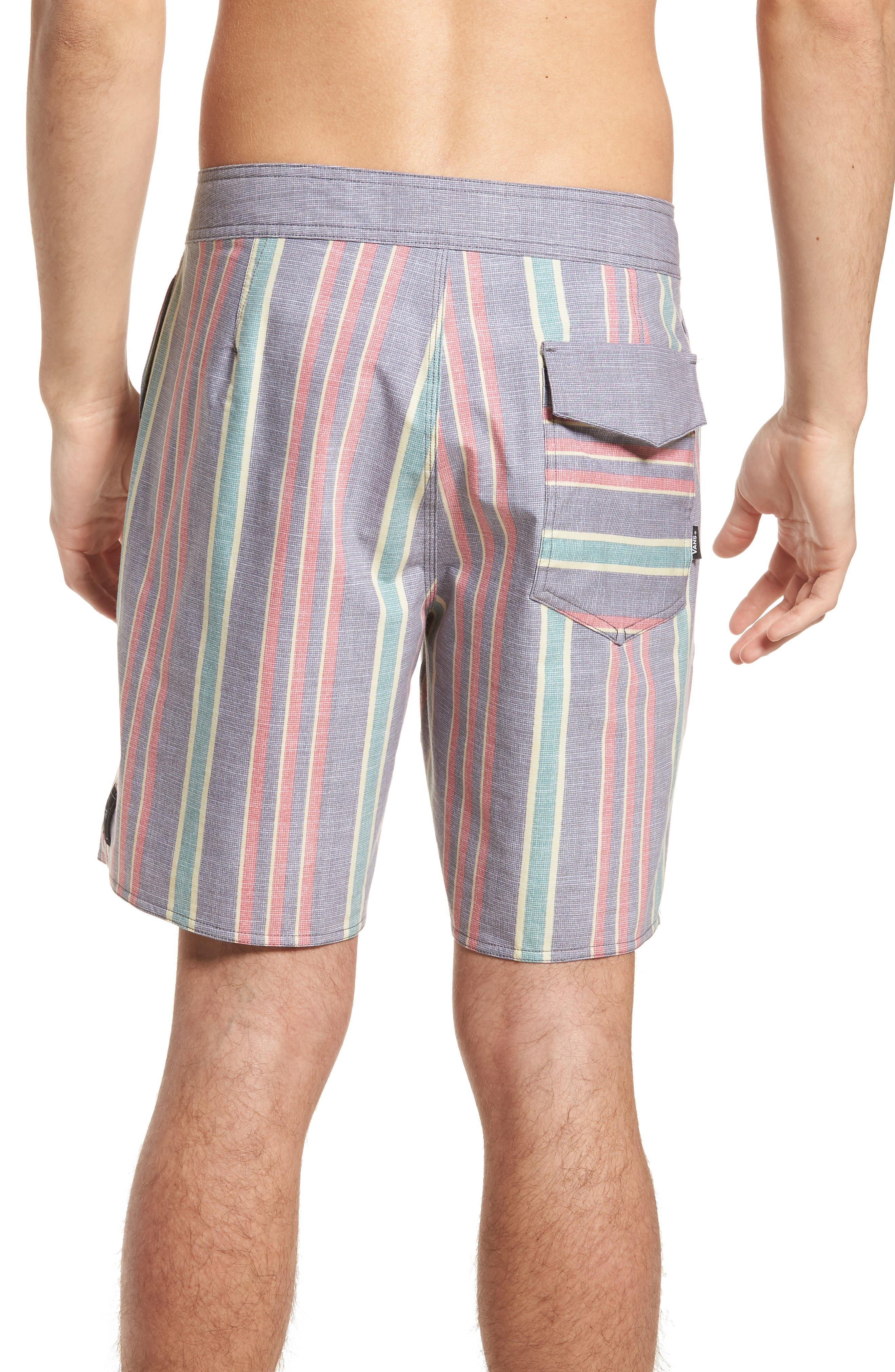 Vertical Stripe Board Shorts,                             Alternate thumbnail 2, color,                             Dress Blues