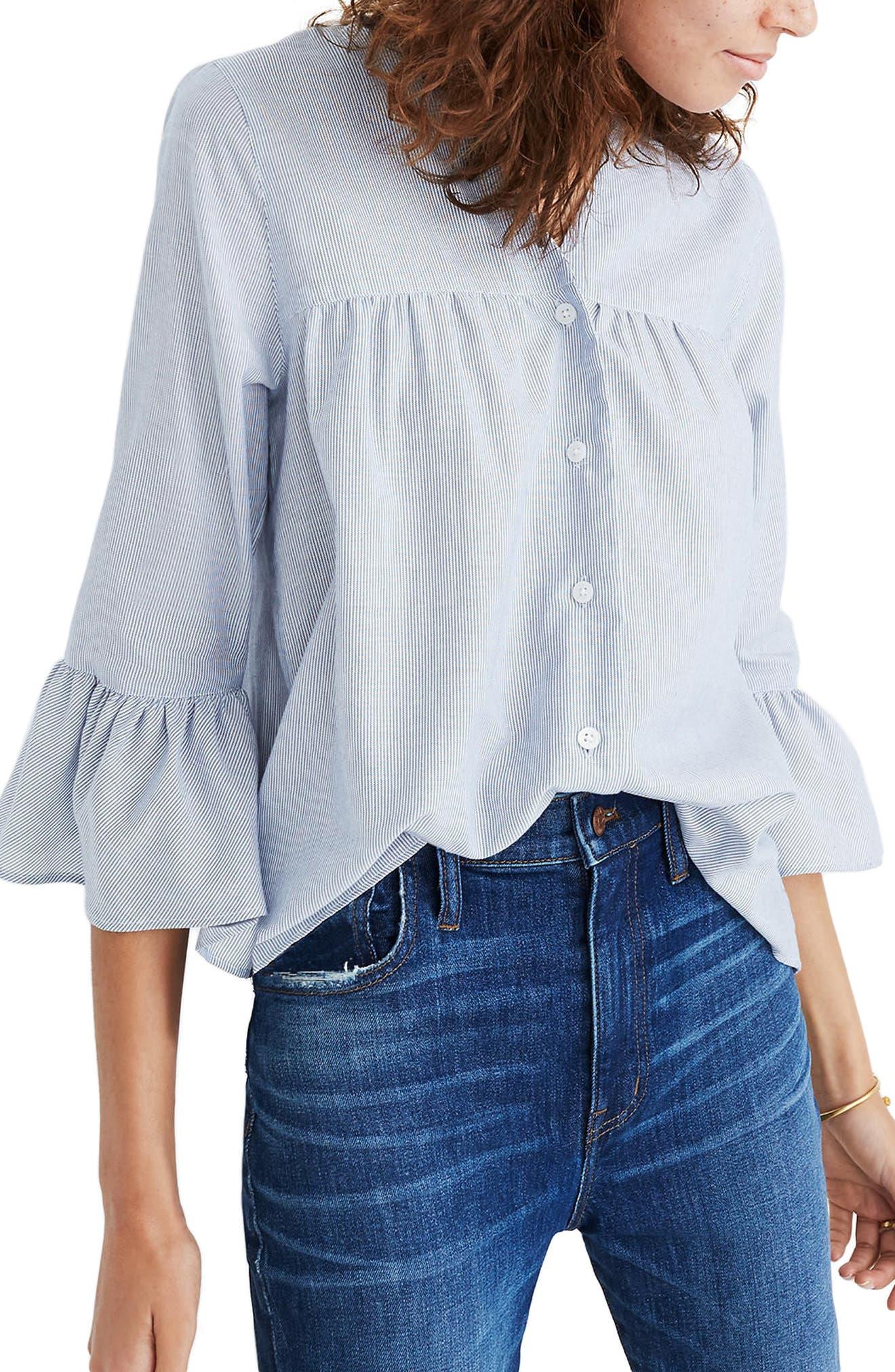 Veranda Bell Sleeve Shirt,                         Main,                         color, Royal Blue
