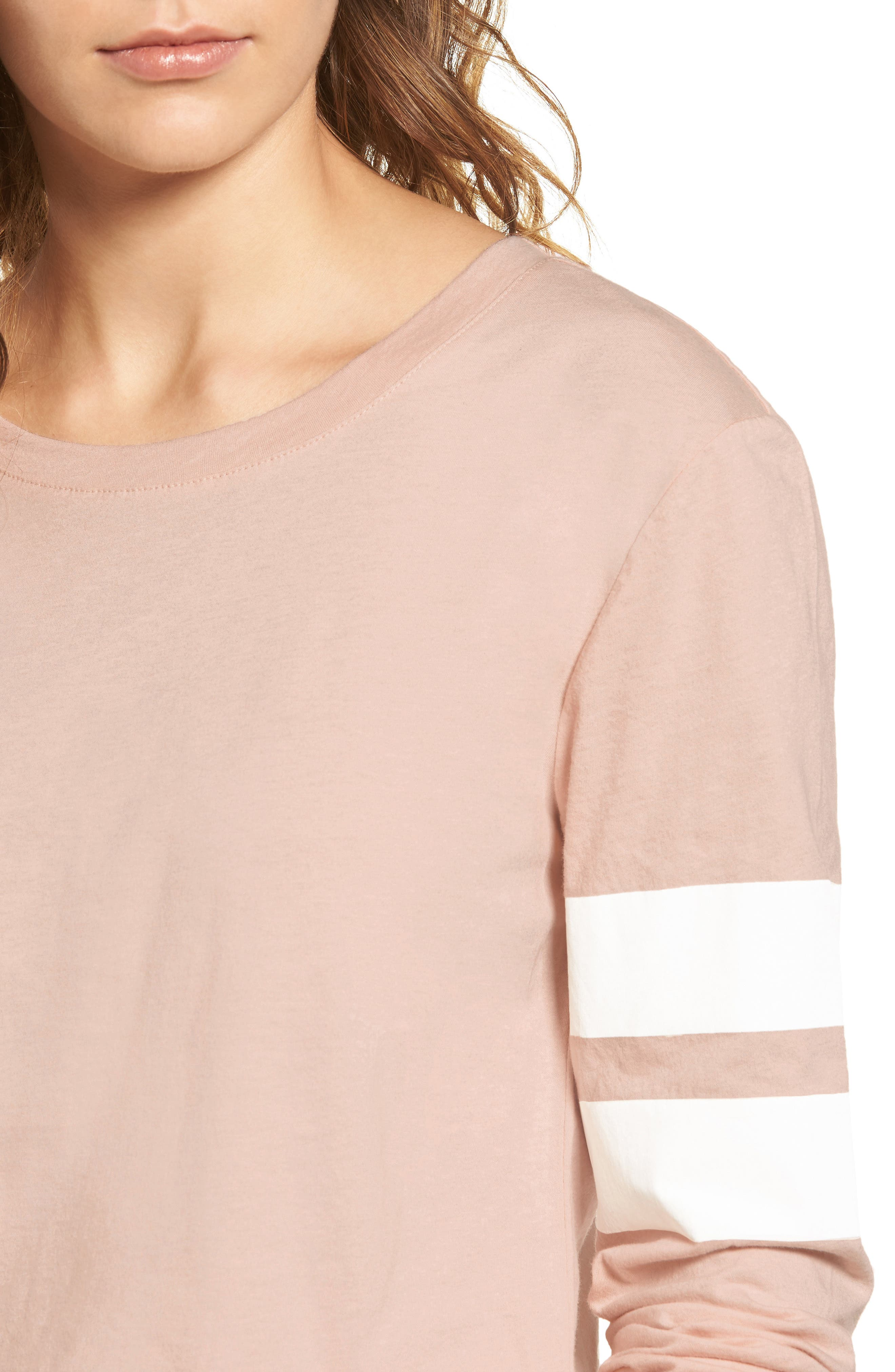 Varsity Stripe Cotton Tee,                             Alternate thumbnail 4, color,                             Pink Combo