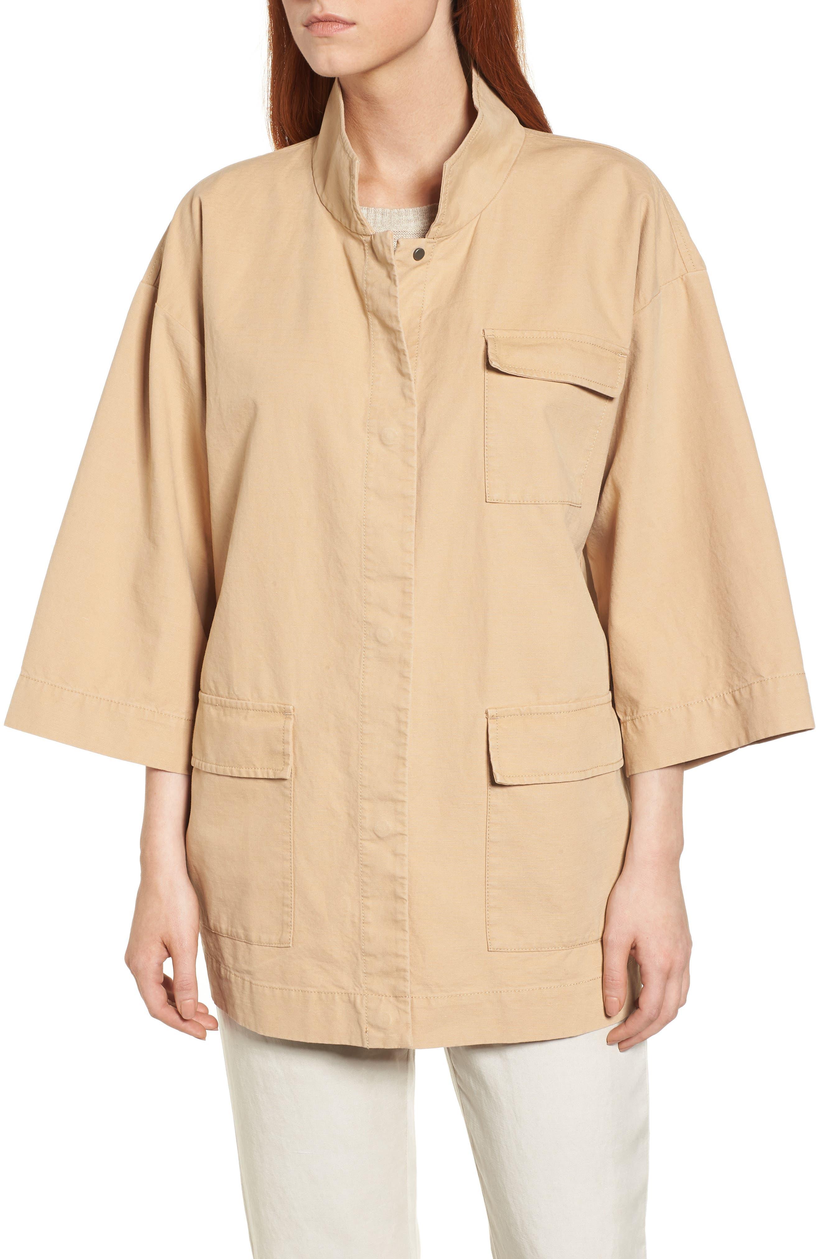 Organic Cotton & Hemp Jacket,                             Alternate thumbnail 4, color,                             Wheat