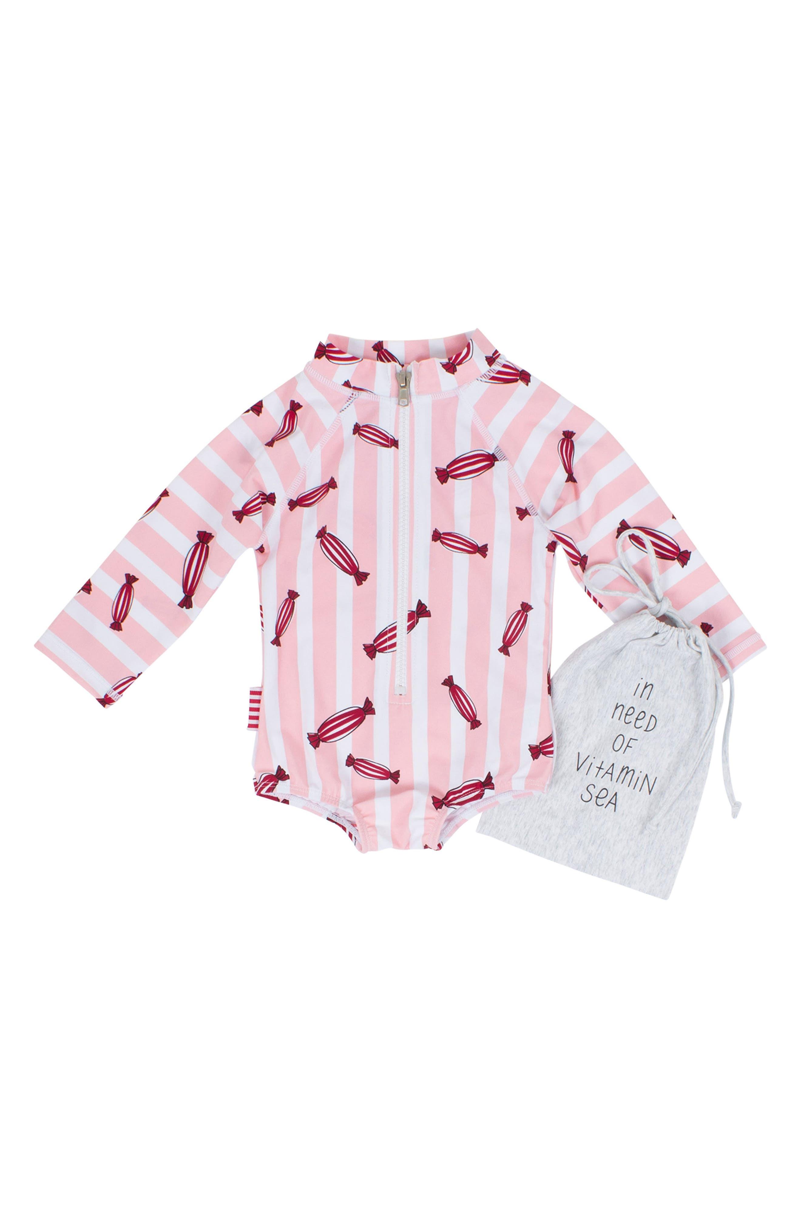 Bonbon One-Piece Rashguard Swimsuit,                         Main,                         color, Pink / Red