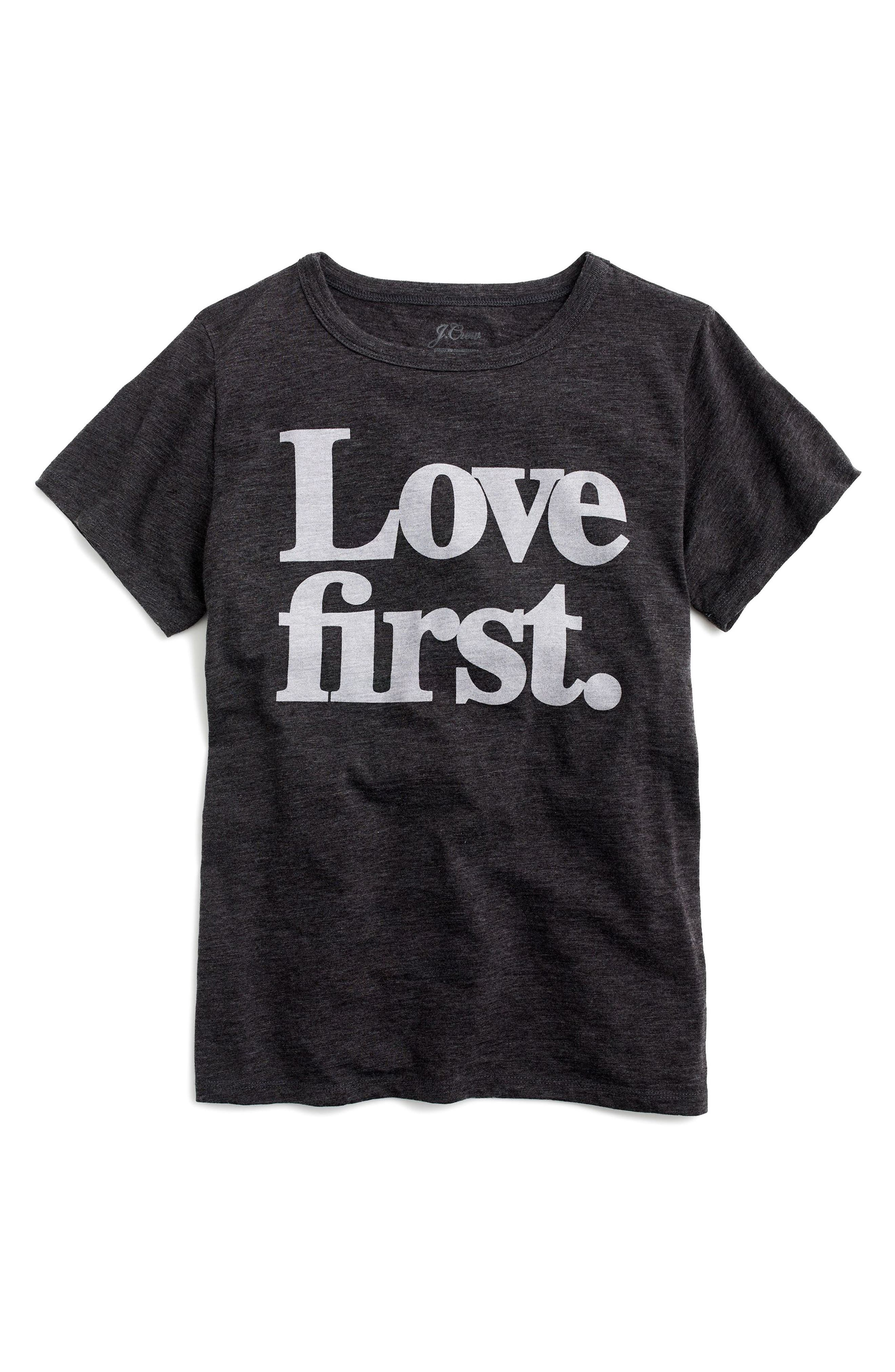 Love First Tee,                             Main thumbnail 1, color,                             Heather Grey