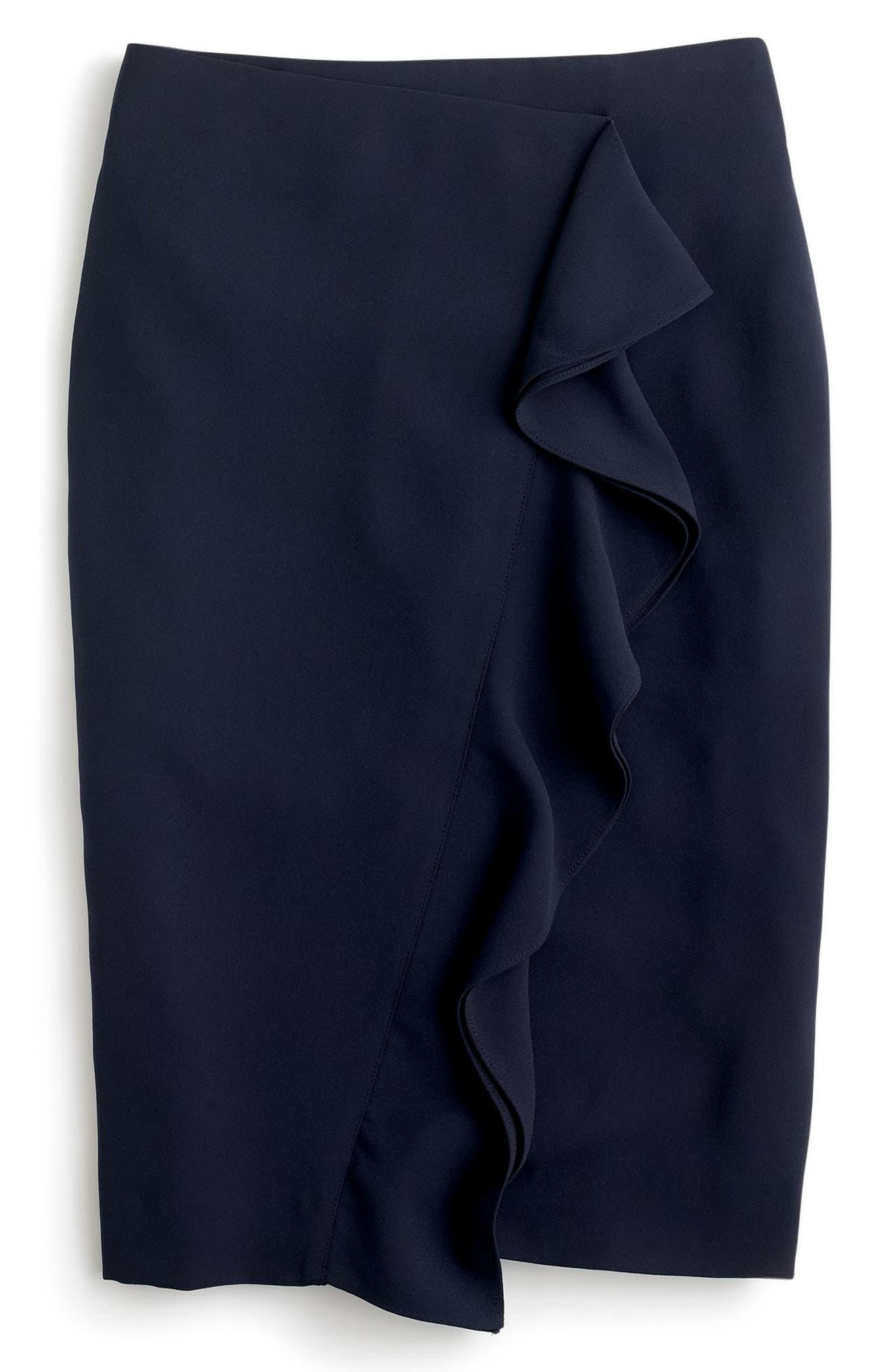 J.Crew 365 Crepe Ruffle Pencil Skirt,                             Alternate thumbnail 5, color,                             Navy